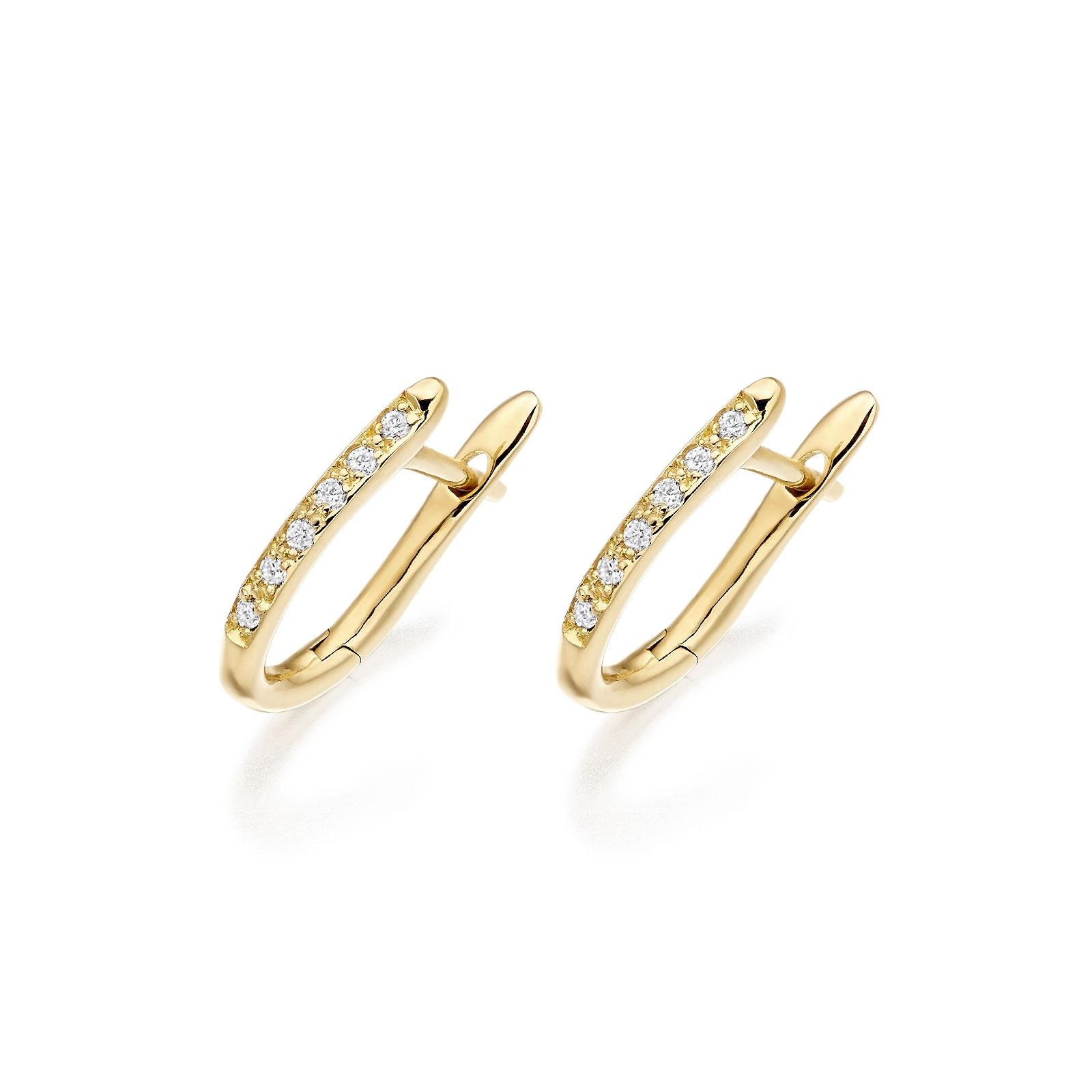 Yellow Gold Diamond Huggie Leverback Earrings-FILEYG1210-1
