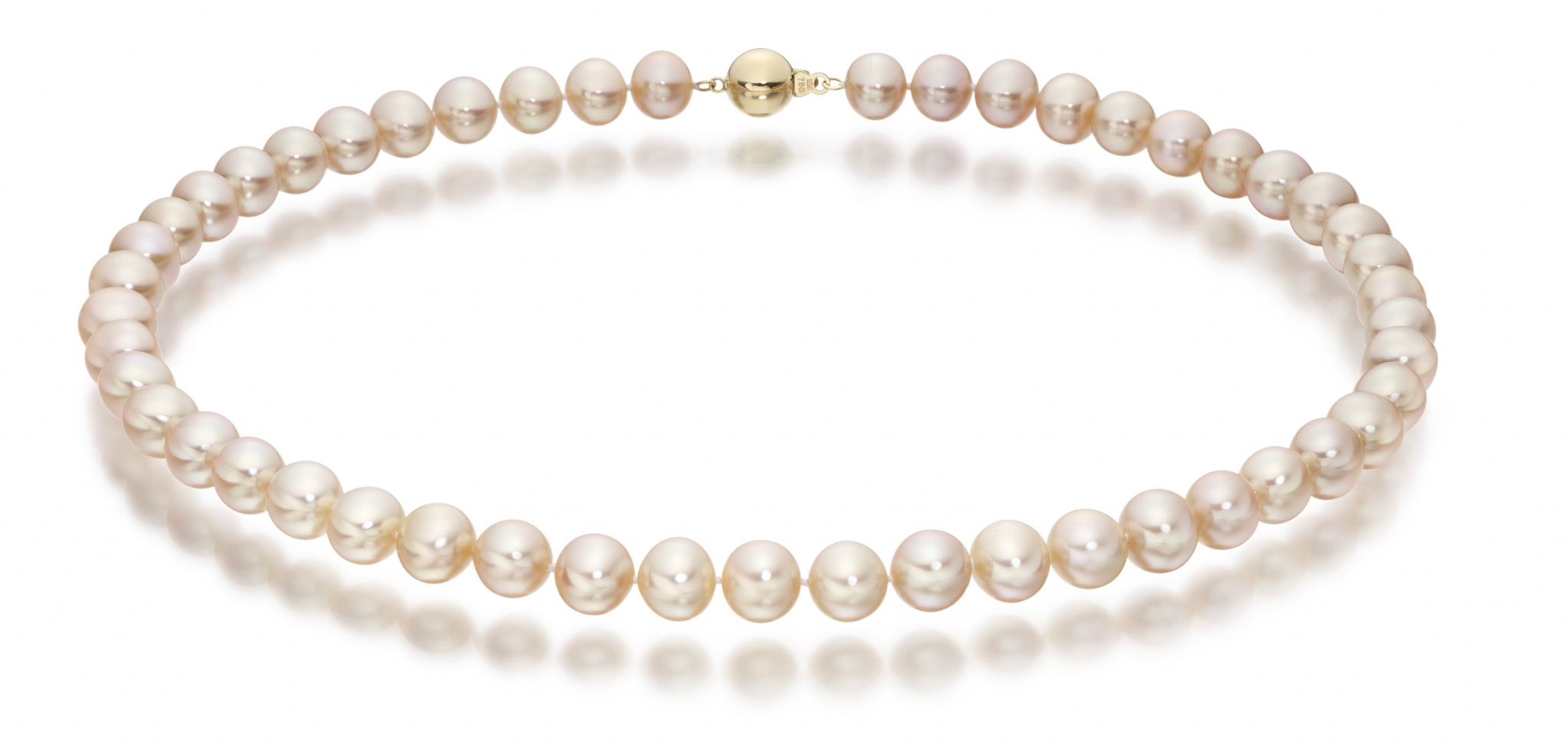 Pink Freshwater Pearl Necklace with 18ct Gold Clasp-FNVAR01050458-1