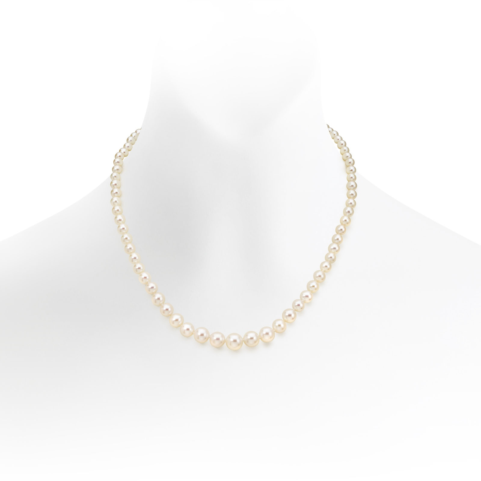 Graduated White Freshwater Pearl Necklace with 18ct Gold Clasp-FNVAR02600261-1