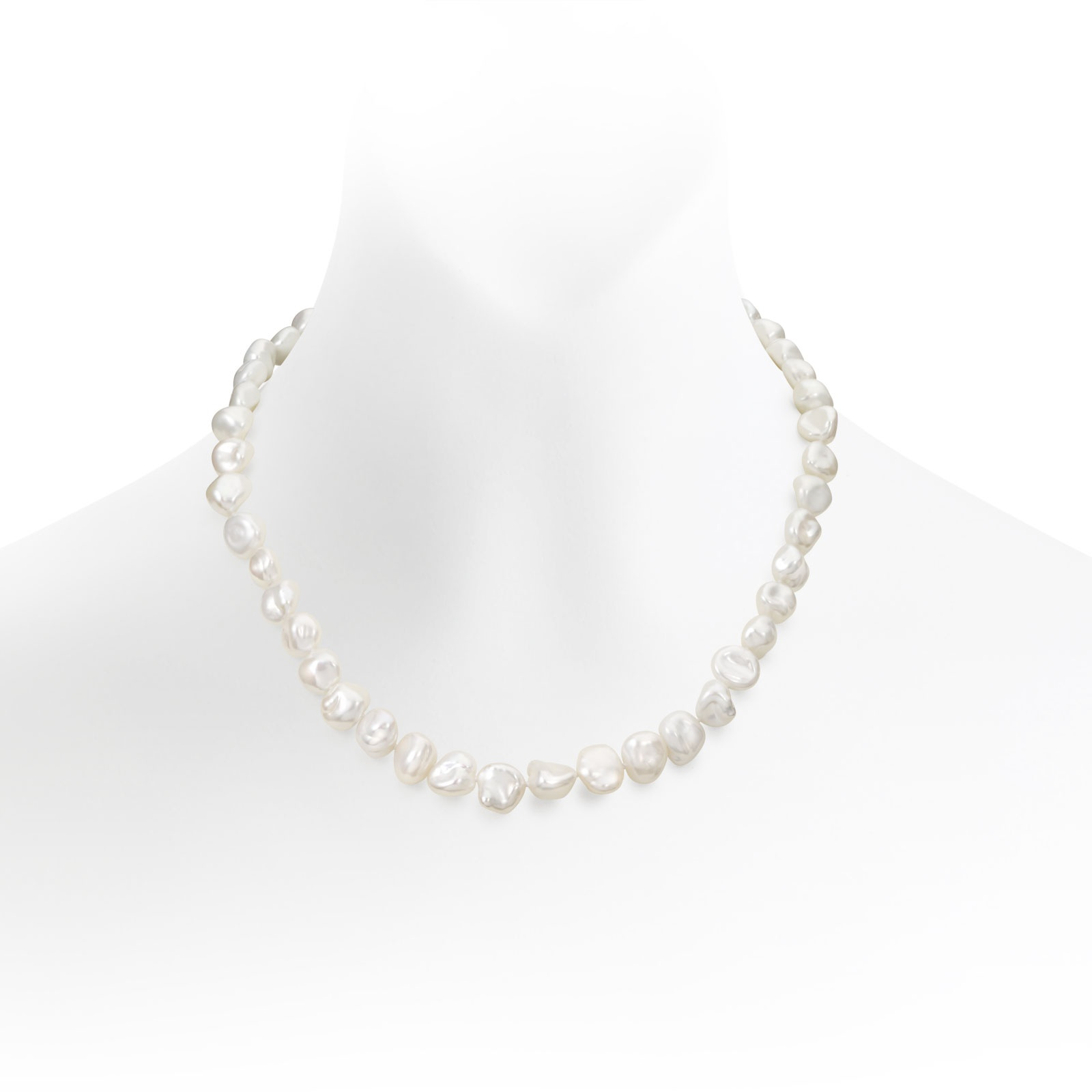 White Keshi Freshwater Pearl Necklace with Sterling Silver-FNWKSS0106-1