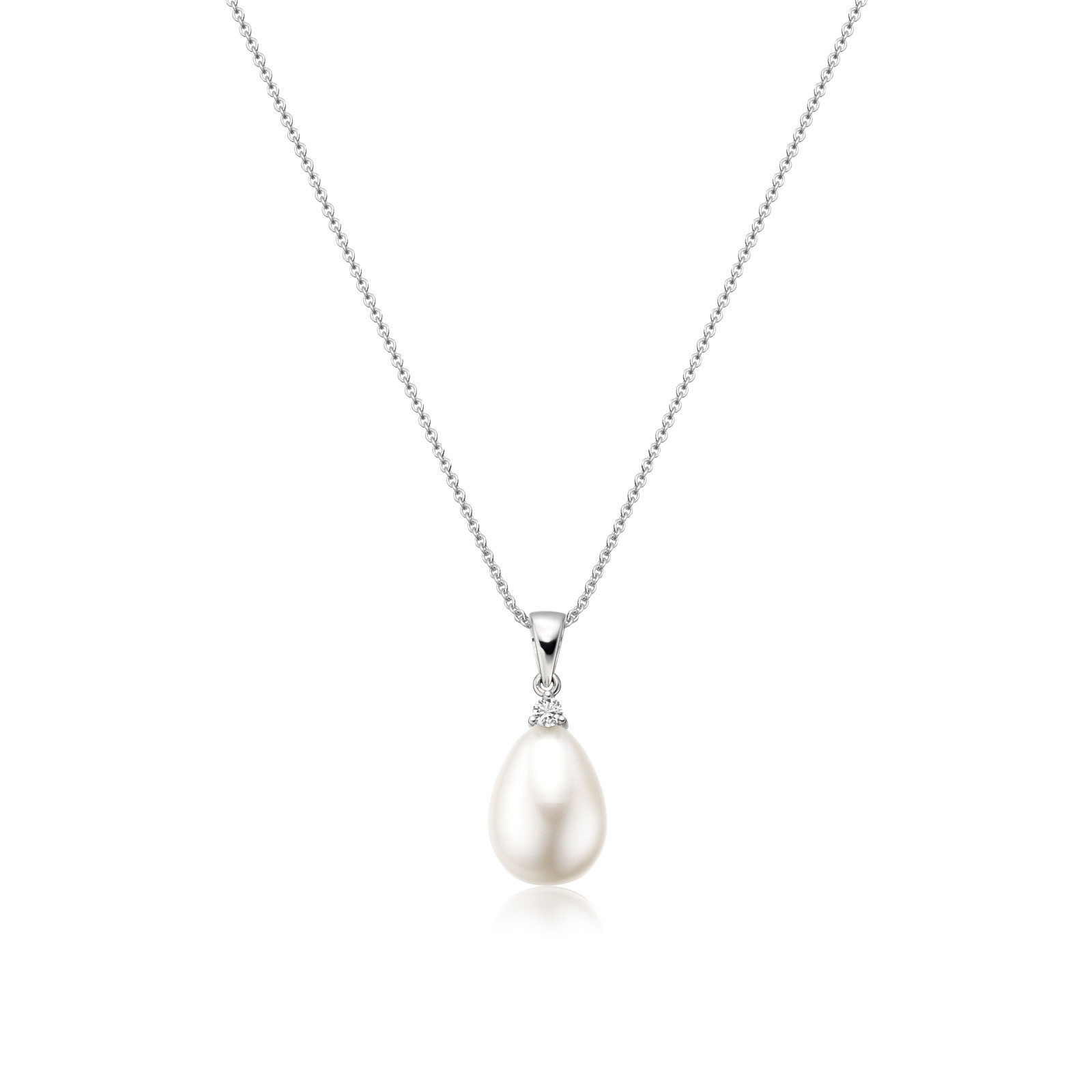 White Freshwater Drop Pearl and Diamond Pendant with 18ct White Gold-FPWDWG1119-1