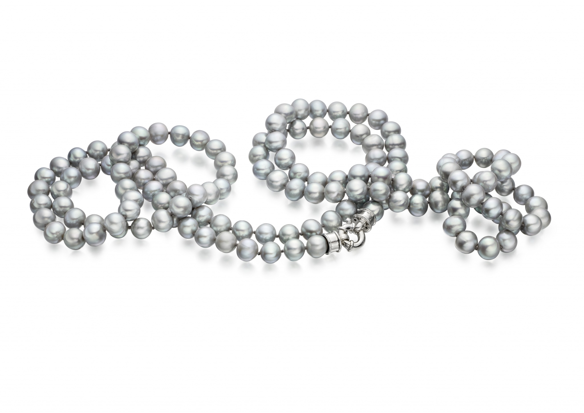 Long Grey Freshwater Pearl Rope Necklace with Silver Clasp-FSGRSS0068-1