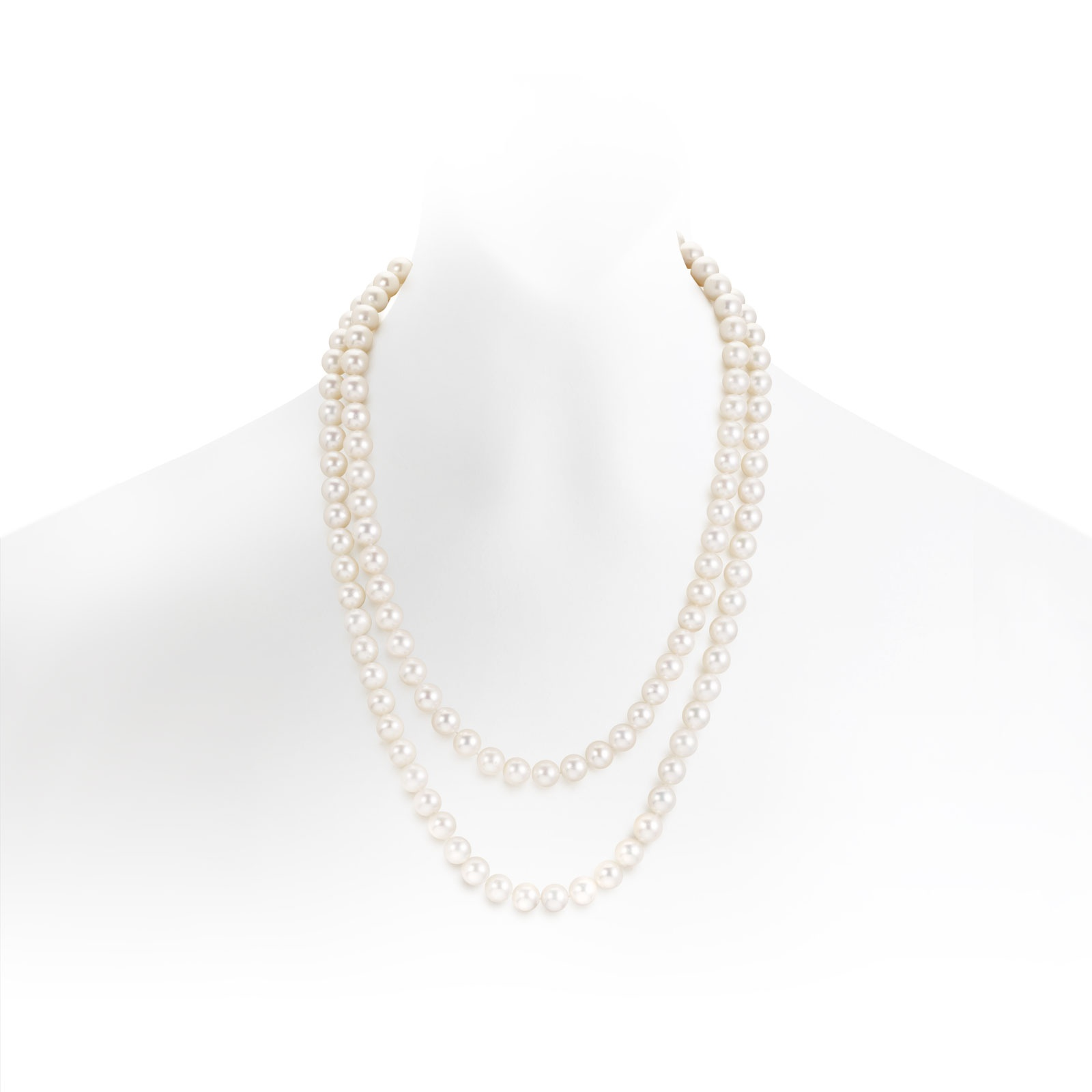 White Freshwater Pearl Sautoir Necklace with Silver Clasp-FSWRSS0093-1