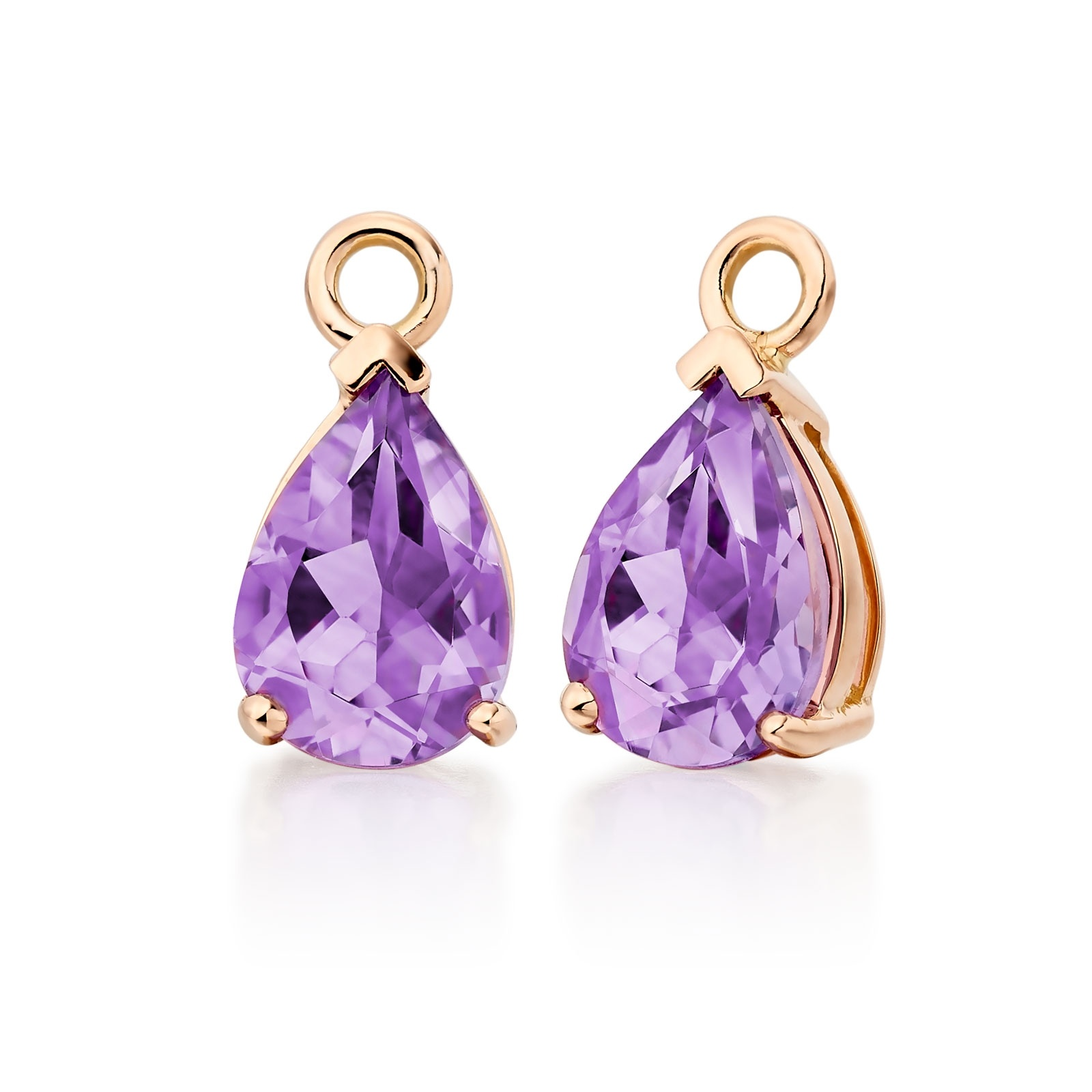 Mythologie Amethyst Leverback Drops in Rose Gold -GELPRG1041-1