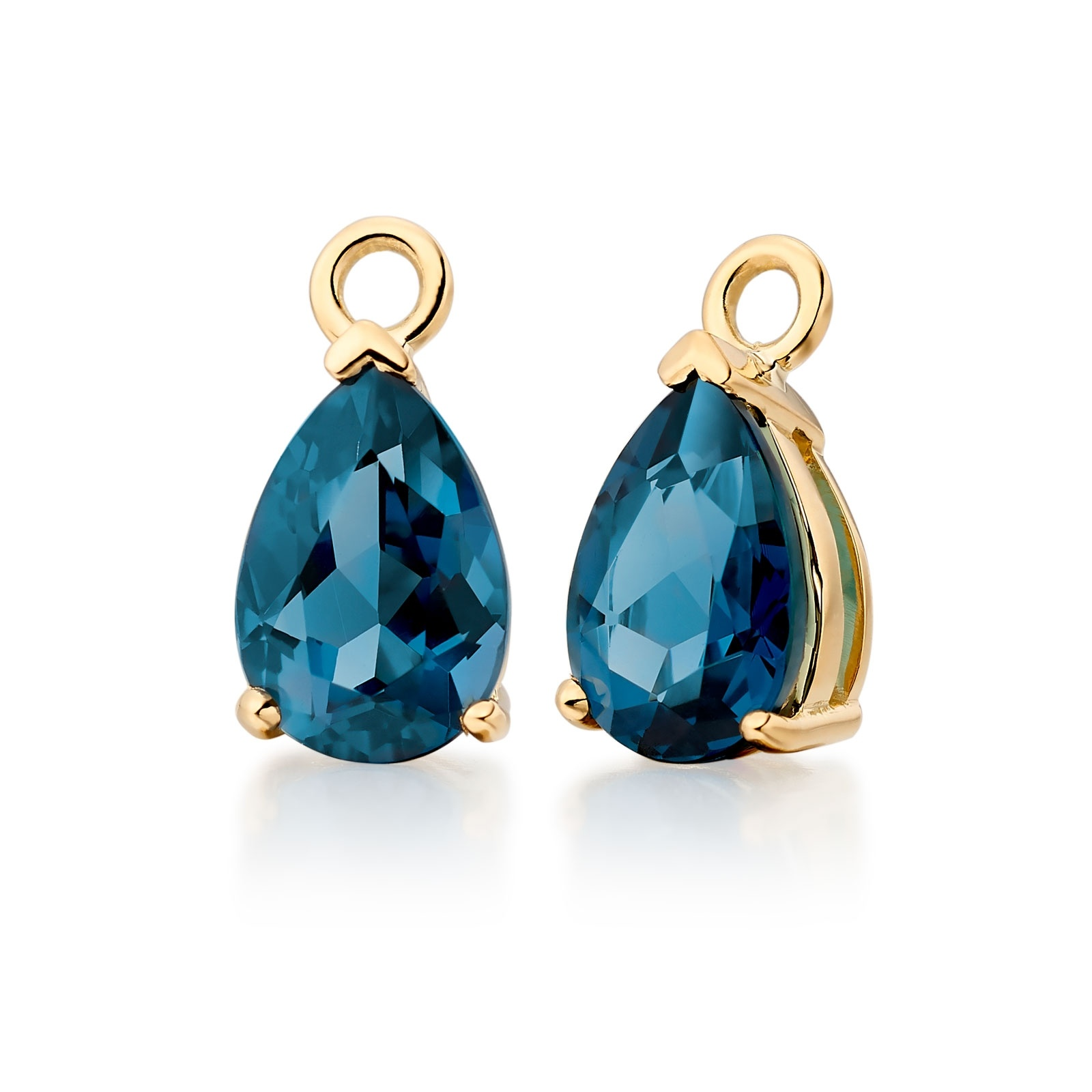 Classic Leverbacks with Mythologie London Blue TopazDrops in Yellow Gold-EALBYG1111-1