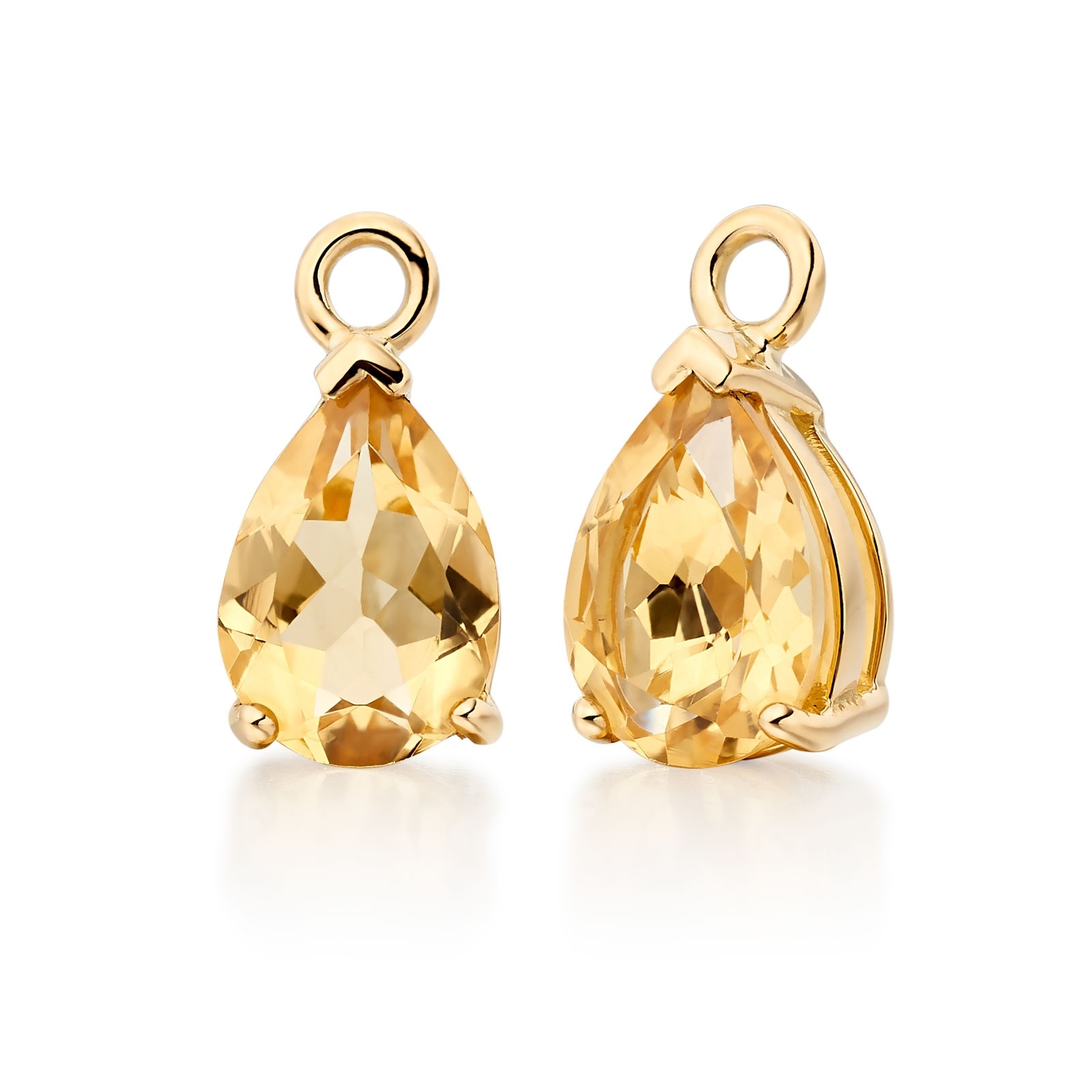 Classic Leverbacks with Mythologie Citrine Drops in Yellow Gold-EACTYG1112-1