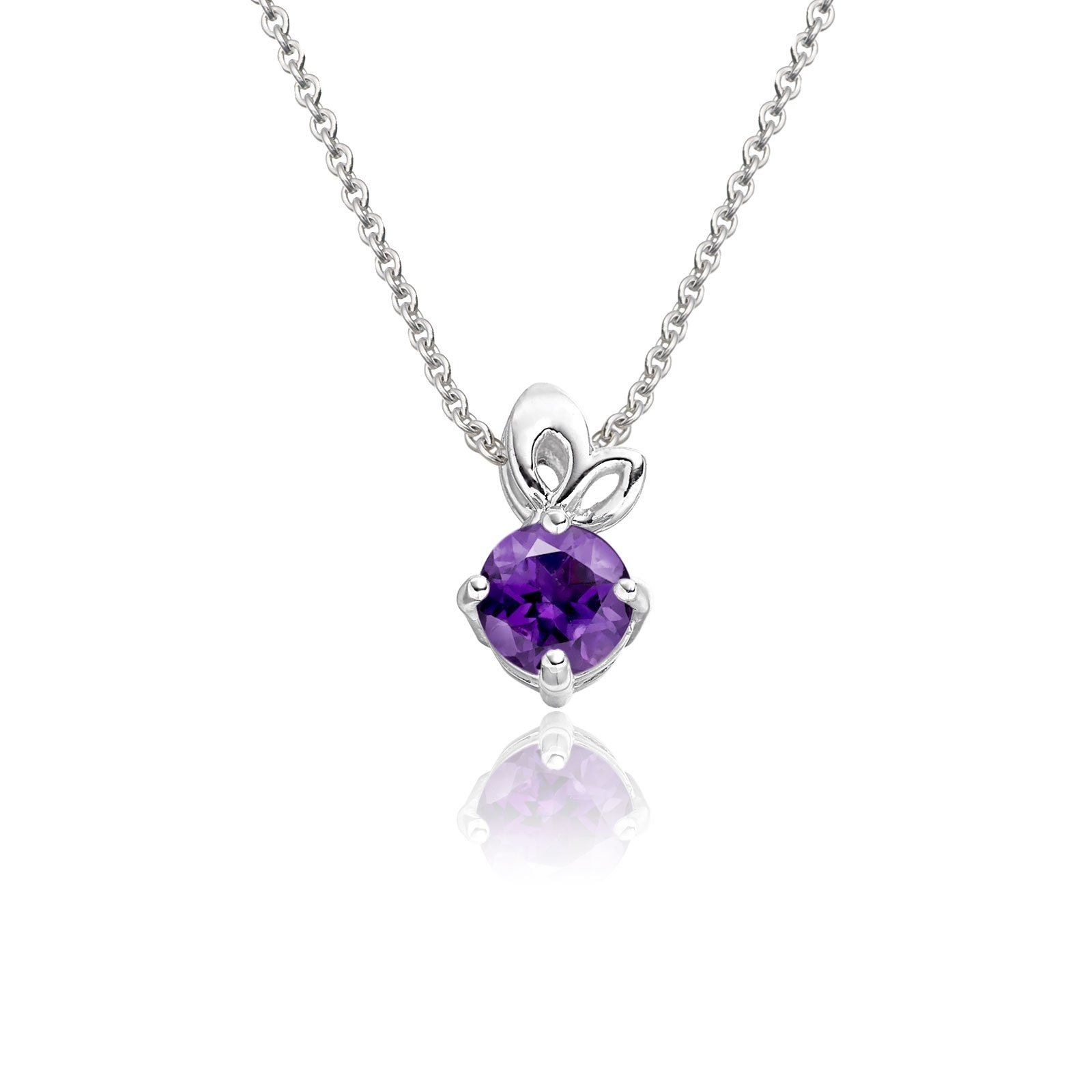 Lief Amethyst Pendant in White Gold-PEVARWG1173-1