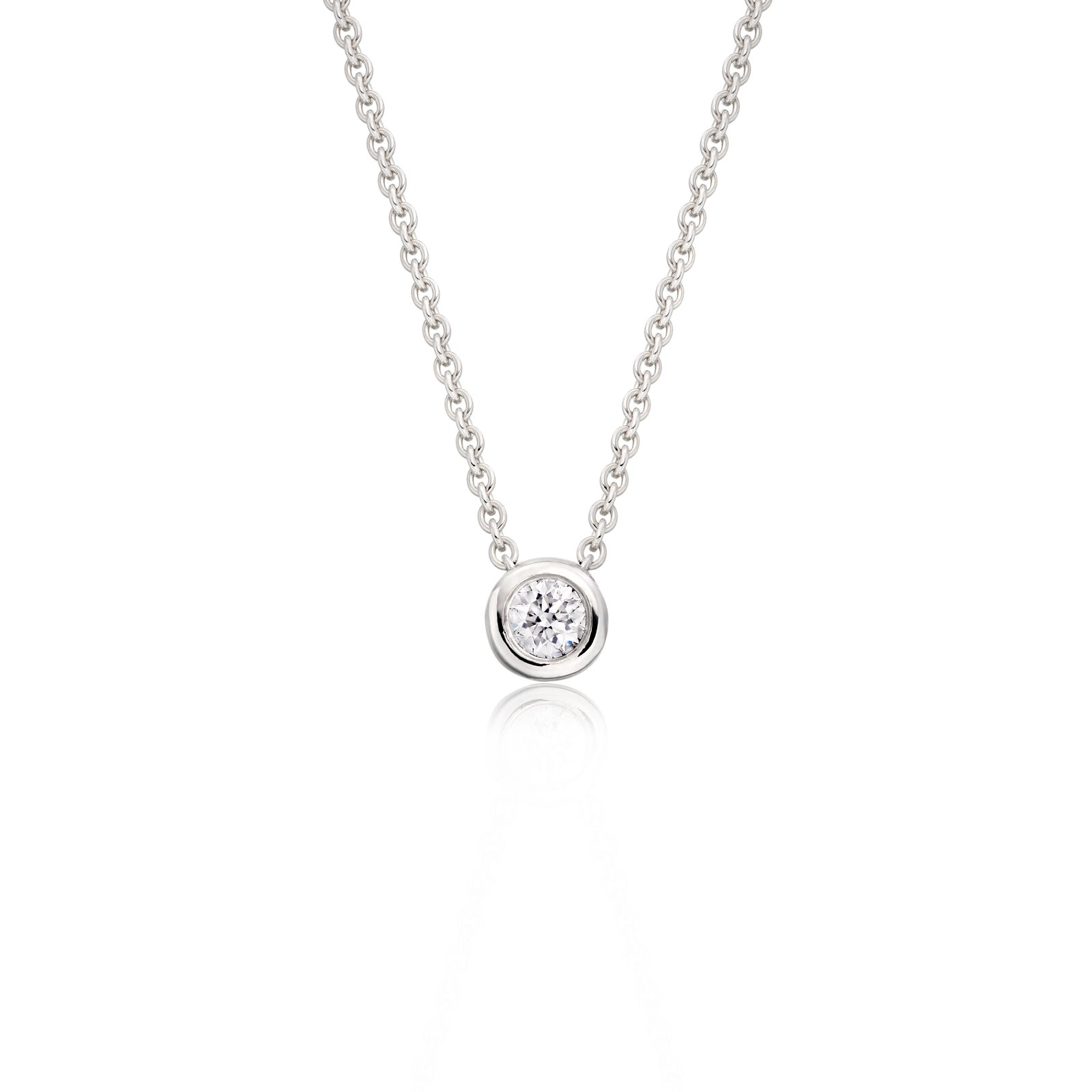 Classic solitaire diamond pendant in white gold winterson classic 010ct diamond pendant with white gold 1 aloadofball Images
