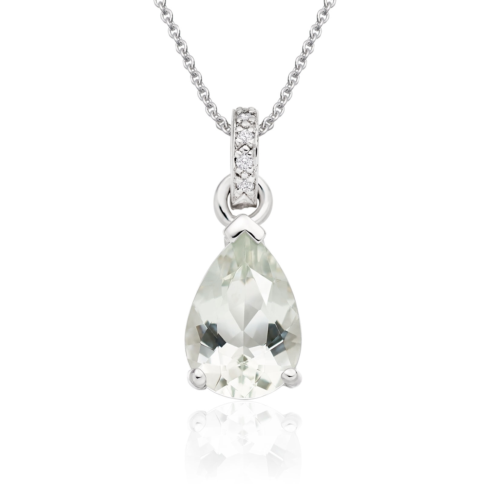 Mythologie Green Amethyst and Diamond Pendant in White Gold-PEVARWG1059-1