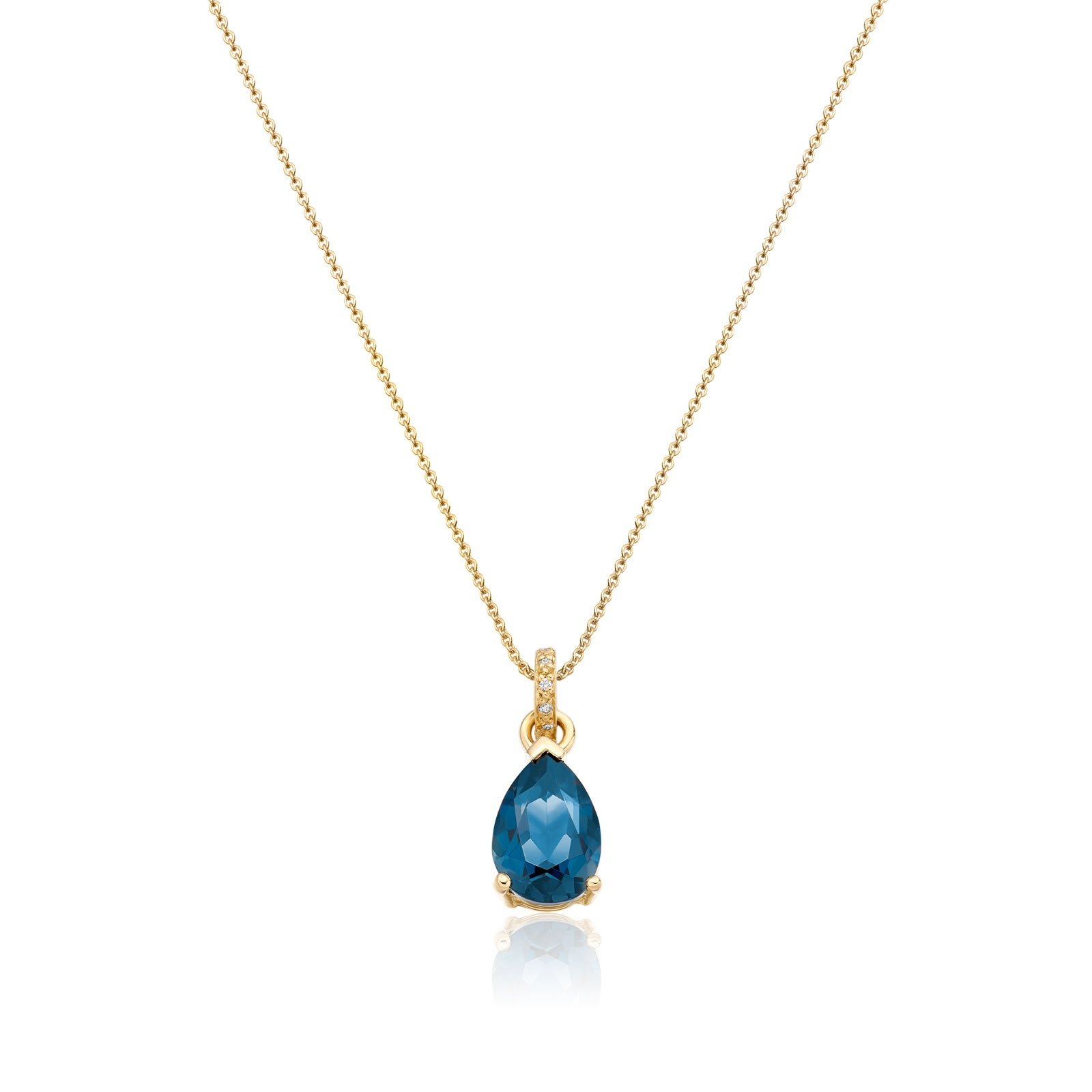 Mythologie London Blue Topaz and Diamond Pendant in Yellow Gold-PEVARYG1063-1