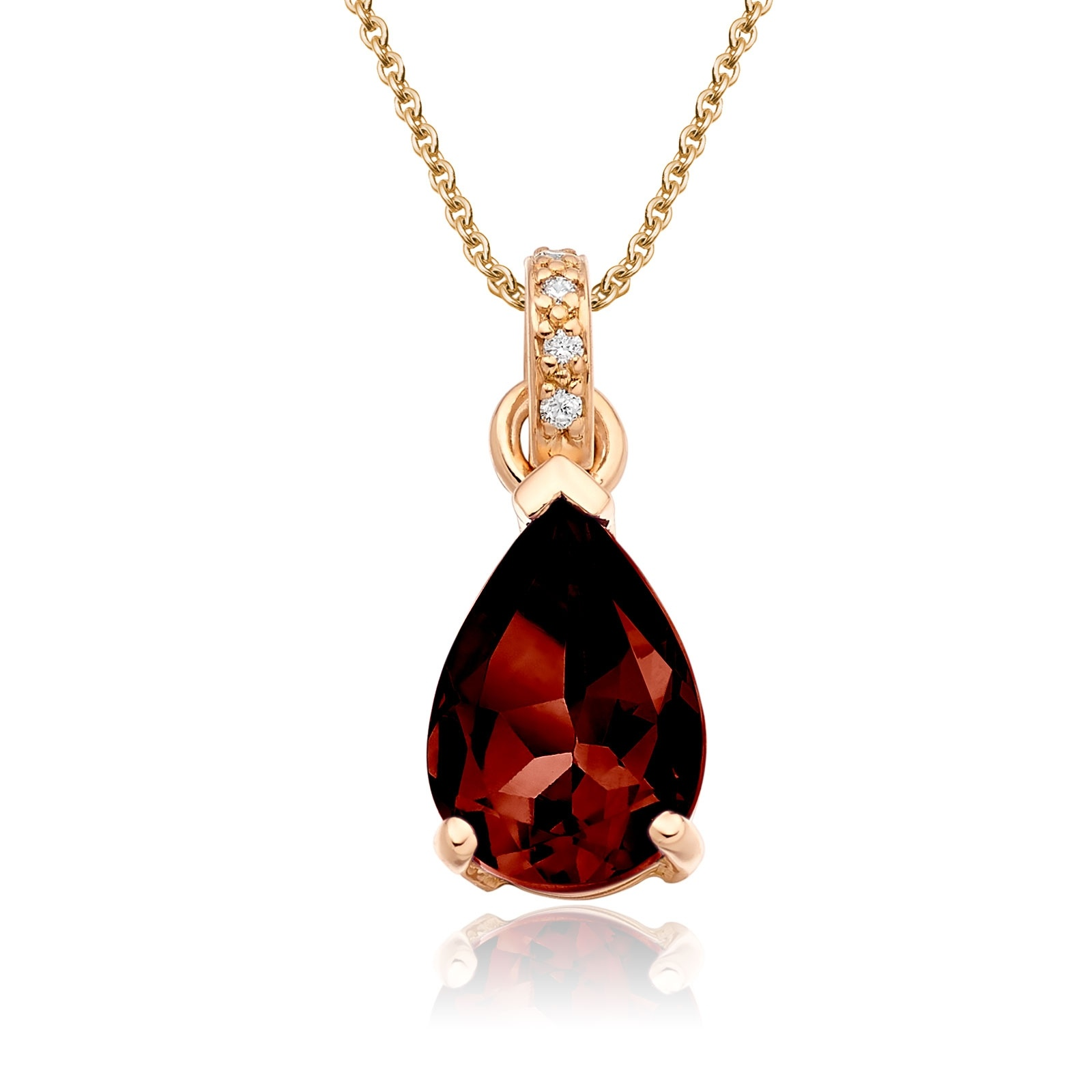 Mythologie Red Garnet and Diamond Pendant in Rose Gold-PEVARRG1318-1