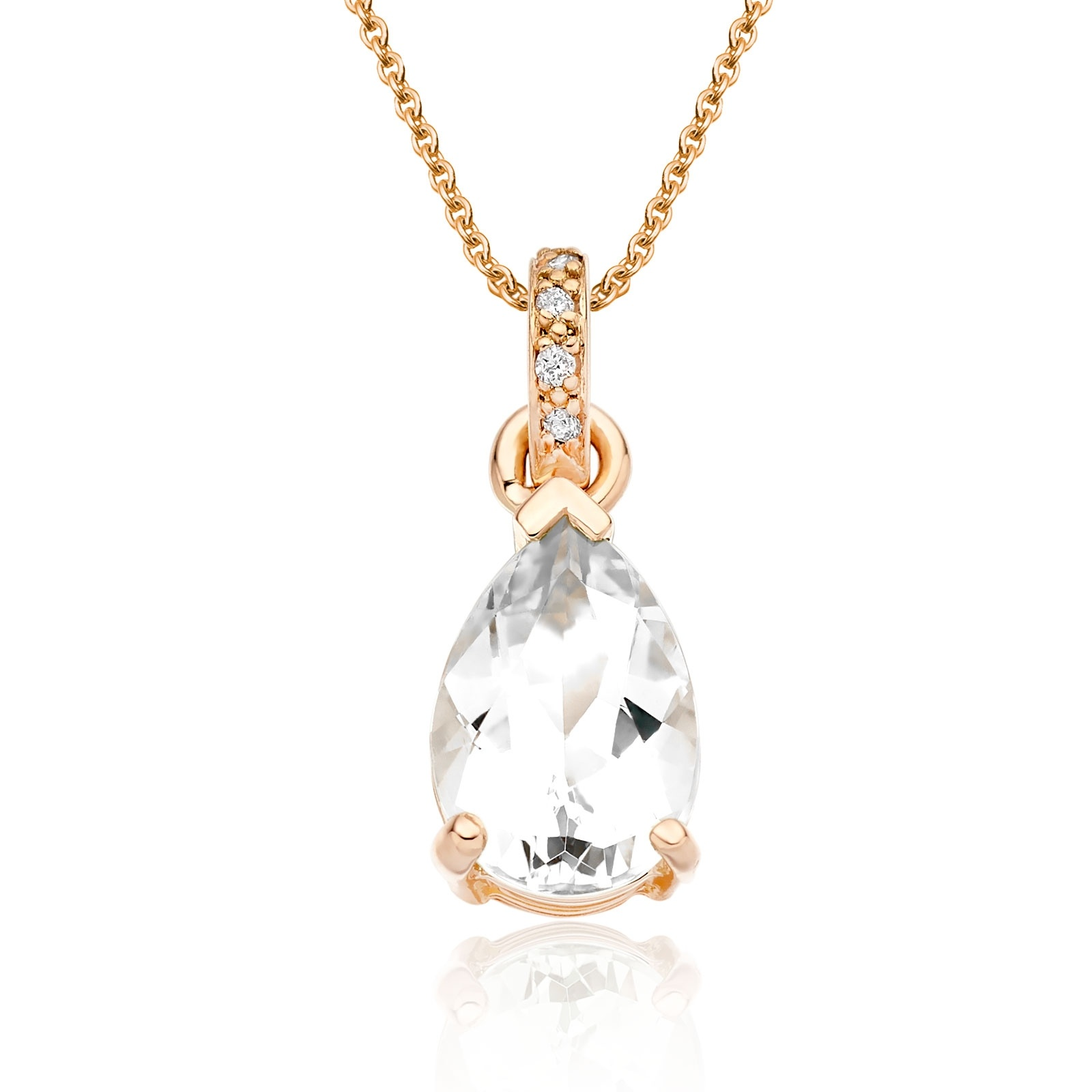 Mythologie White Topaz and Diamond Pendant in Rose Gold-PEVARRG1269-1