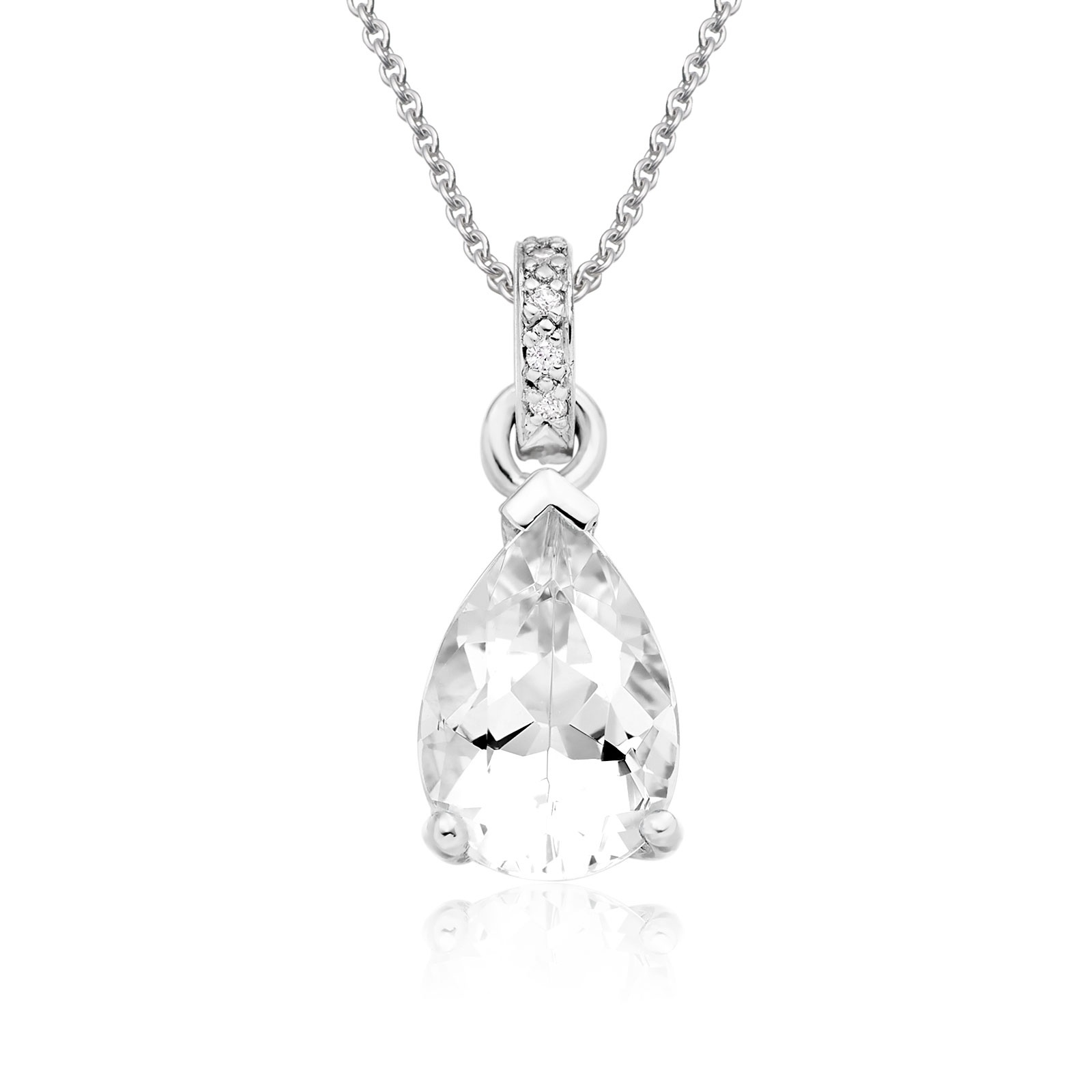 Mythologie White Topaz and Diamond Pendant in White Gold-PEVARWG1263-1