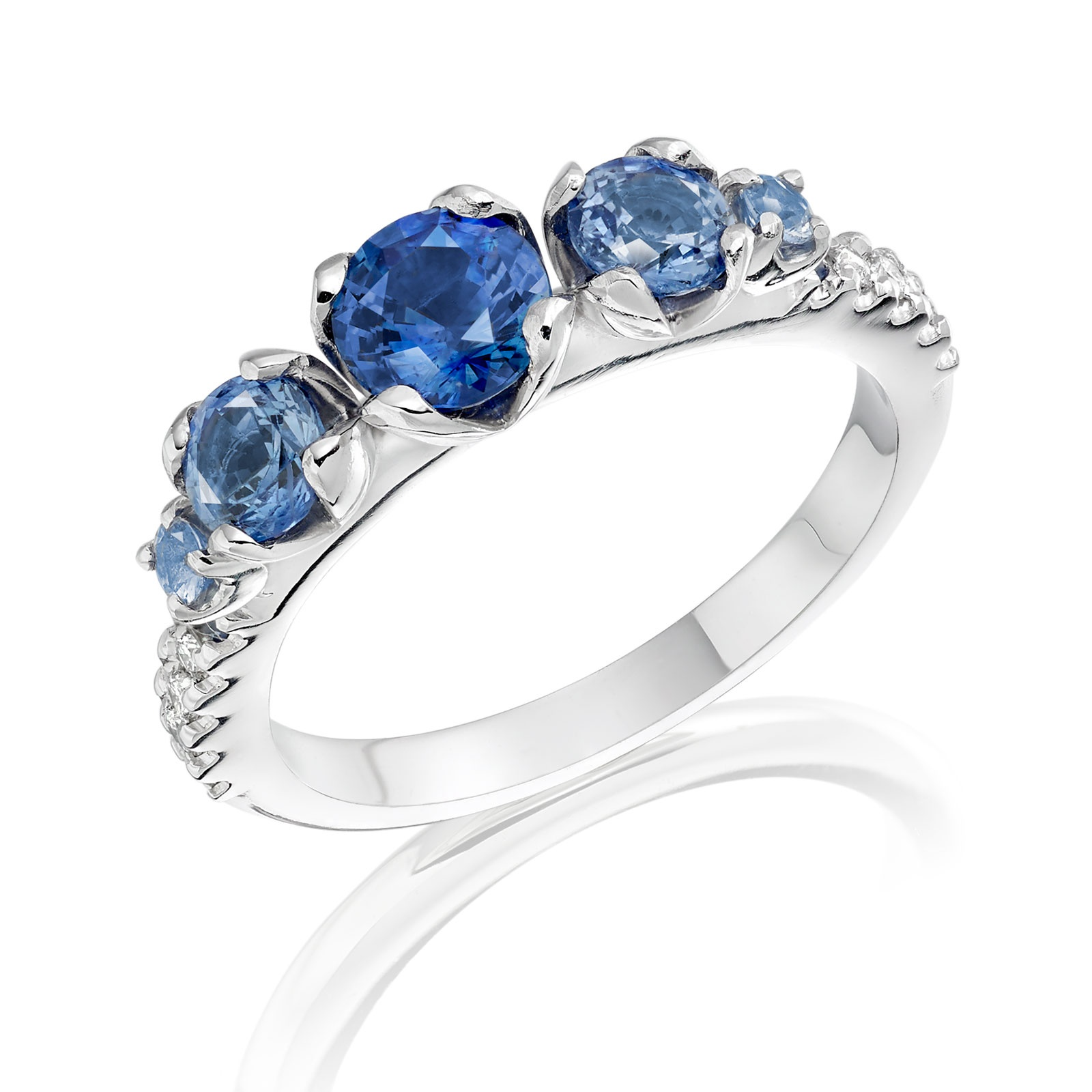 Lief Blue Sapphire and Diamond Ring in White Gold