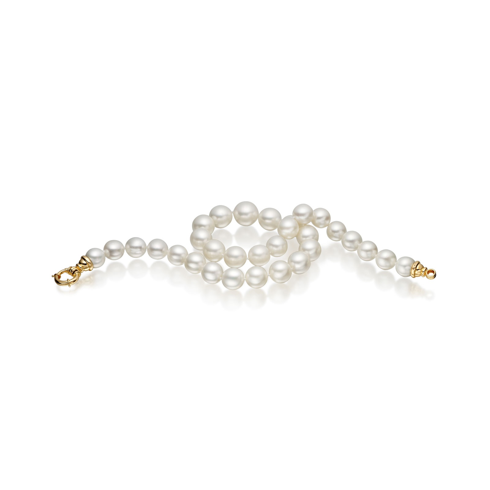 White South Sea Oval Pearl Necklace with 18ct Yellow Gold Clasp-SNWOYG0003-1
