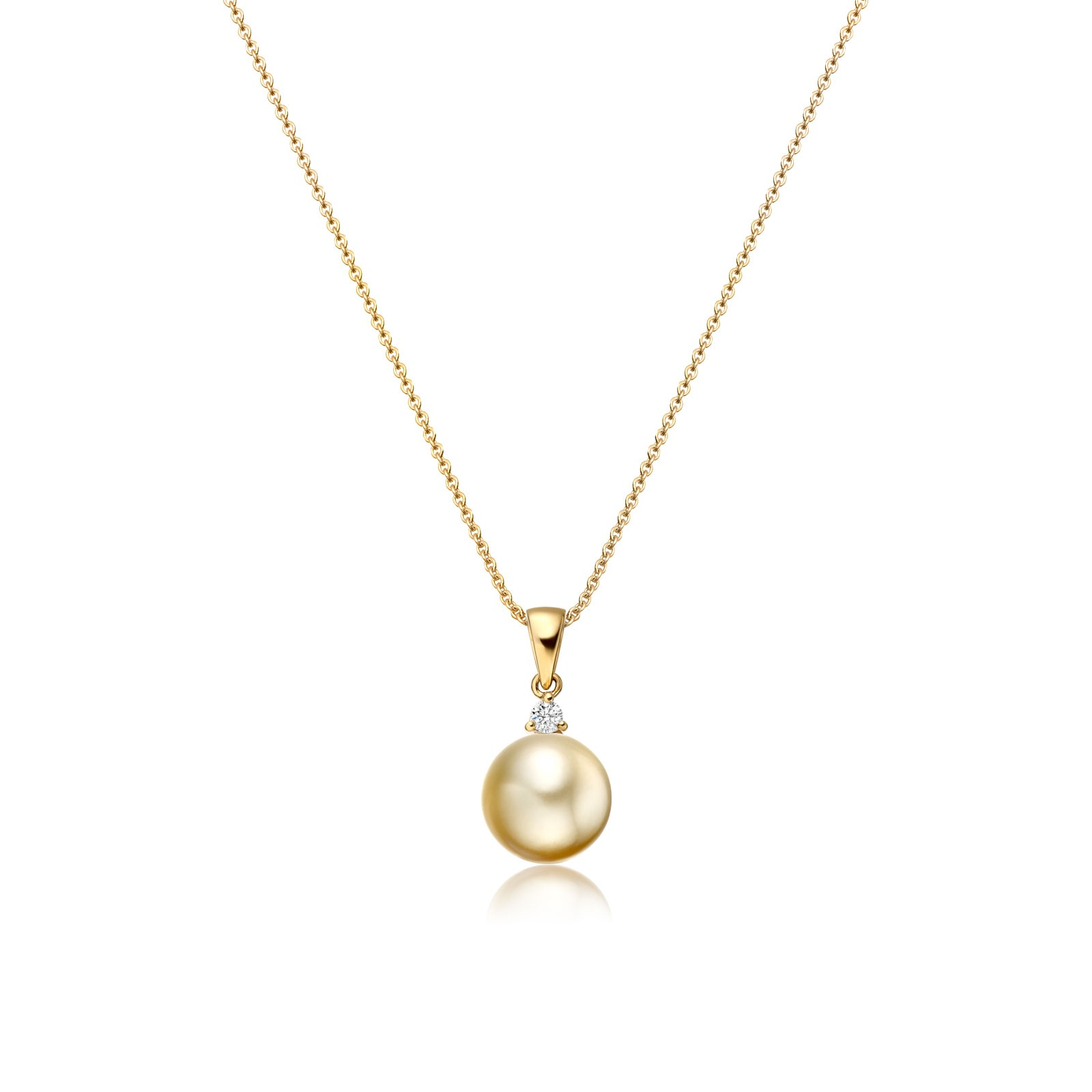 Golden South Sea Pearl and Diamond Pendant-SPGRYG0176-1
