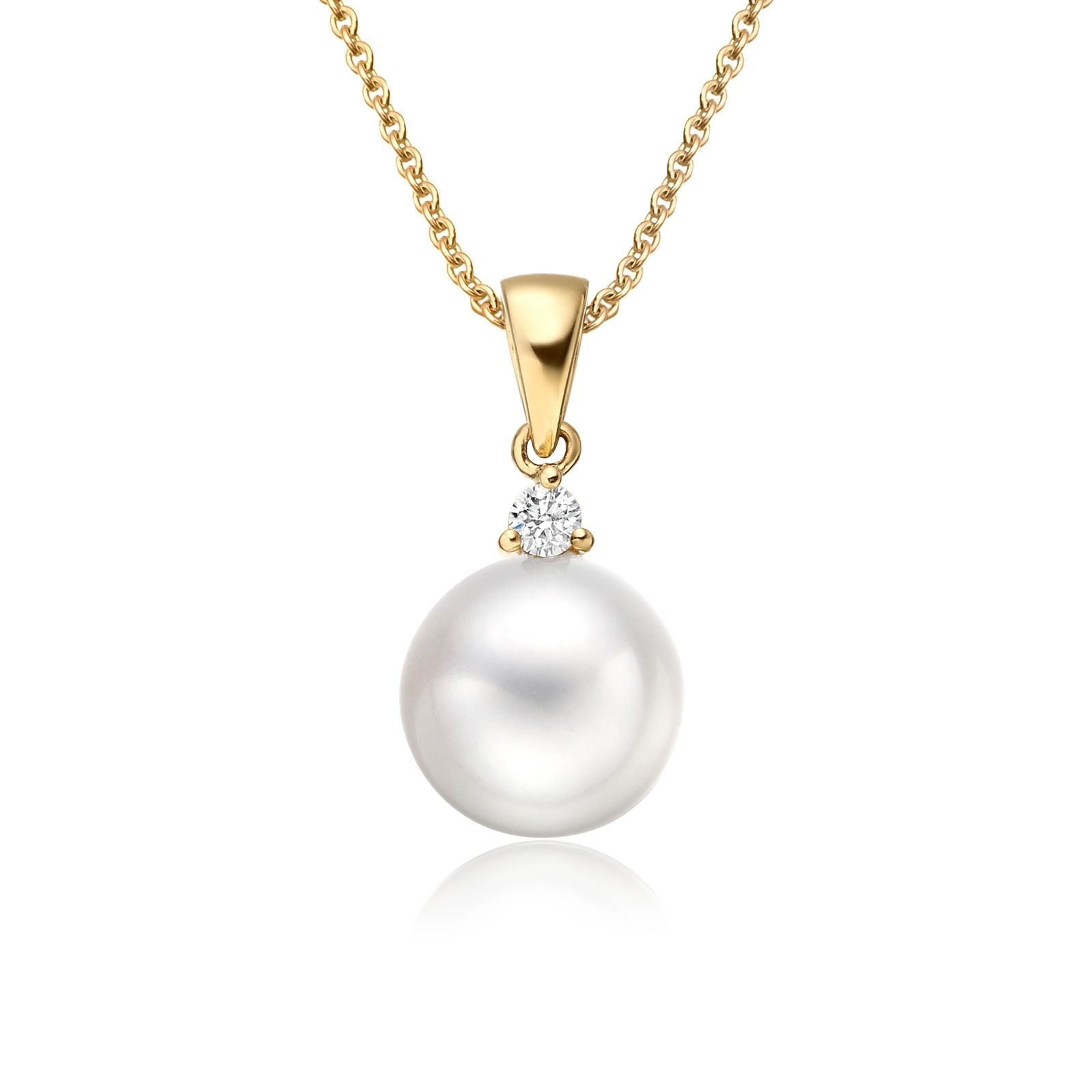 White South Sea Pearl and Diamond Pendant in Yellow Gold-SPWRYG1313-1