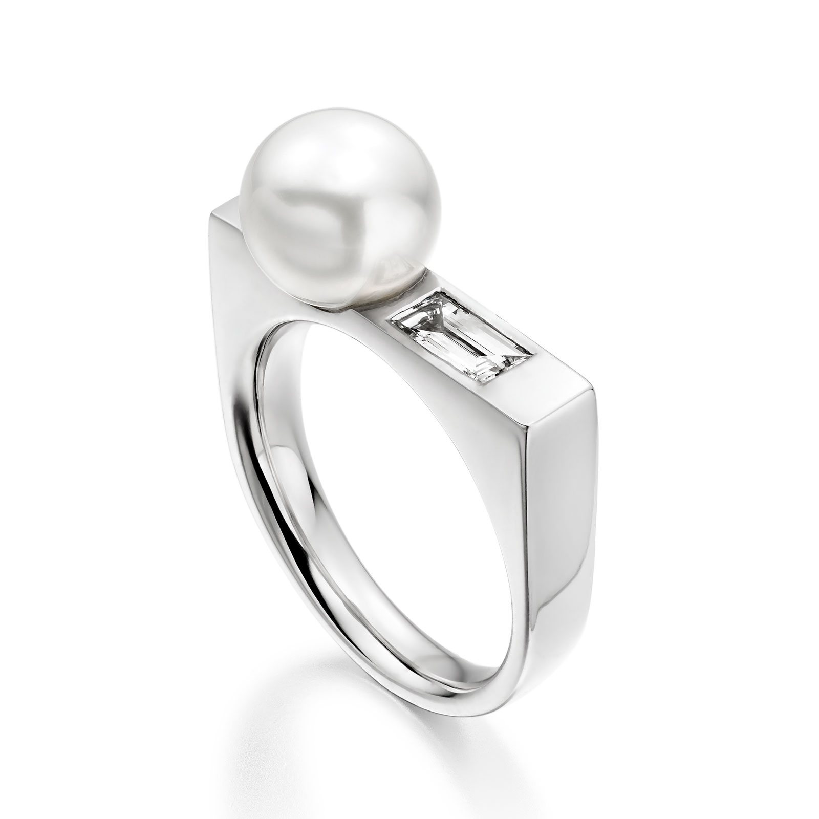 Luna Ice White South Sea Pearl and Diamond Ring