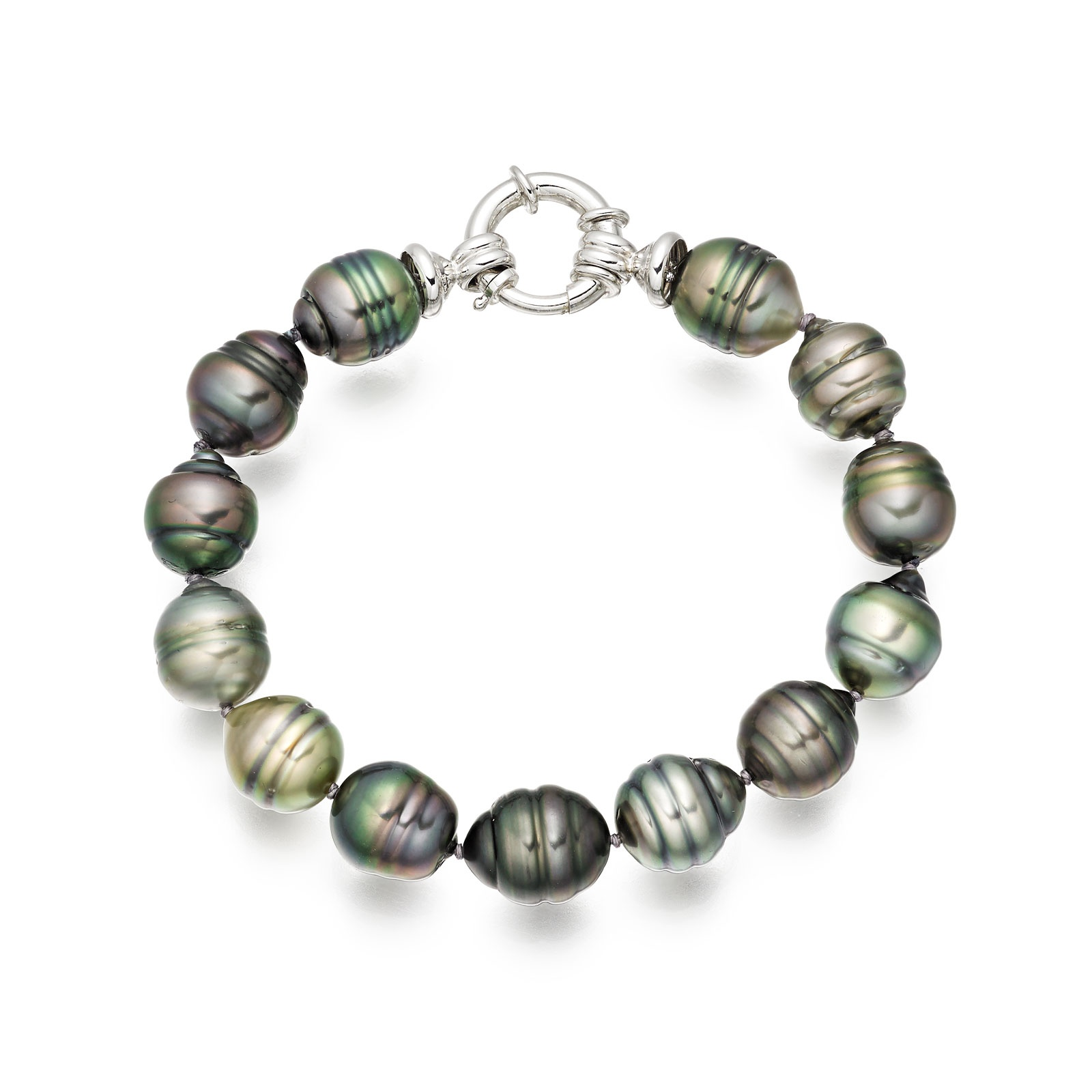 Multi-coloured Baroque Tahitian Pearl Bracelet in White Gold