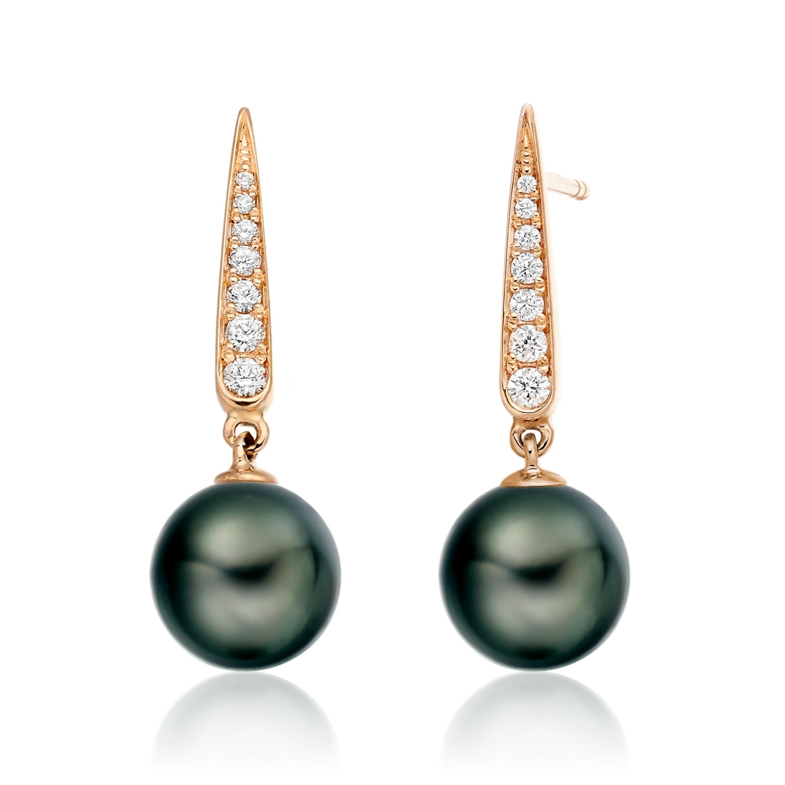 Mythologie Dark Dewdrop Tahitian Pearl Earrings in Rose Gold-TEBRRG1281-1