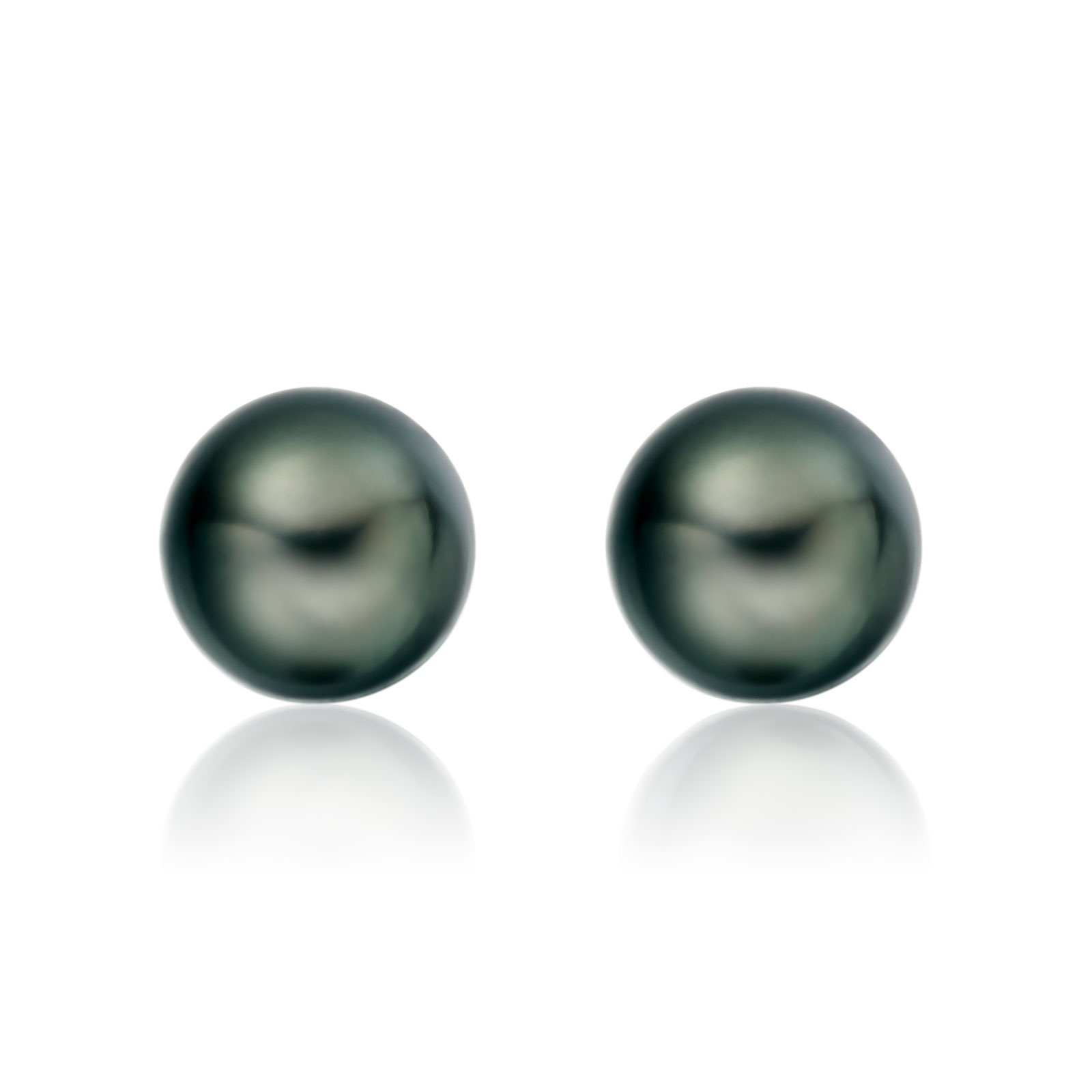 Tahitian Black Pearl Stud Earrings in 18 Carat White Gold-1