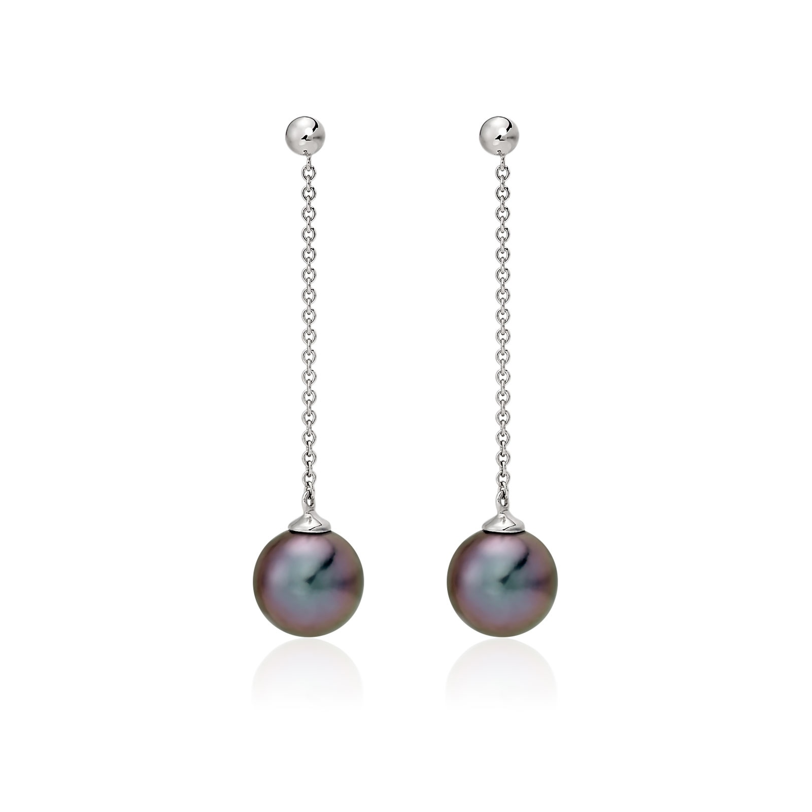 Tahitian Pearl Constellation Earrings in White Gold-TEBRWG1225-1