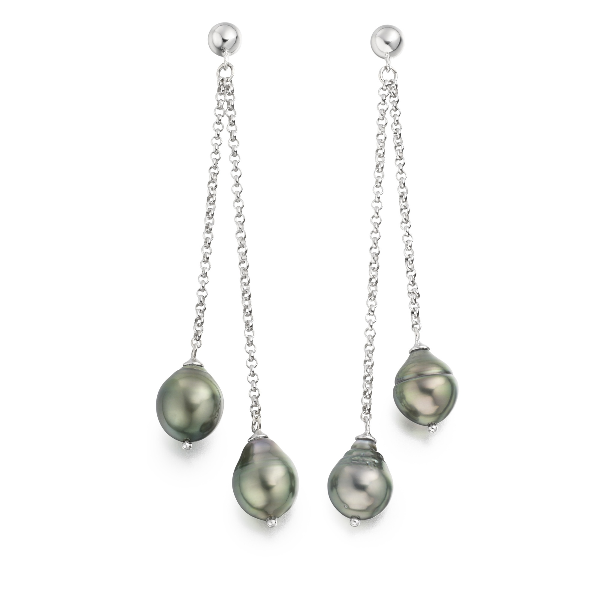 Grey Baroque Tahitian Pearl Drop Earrings with Silver