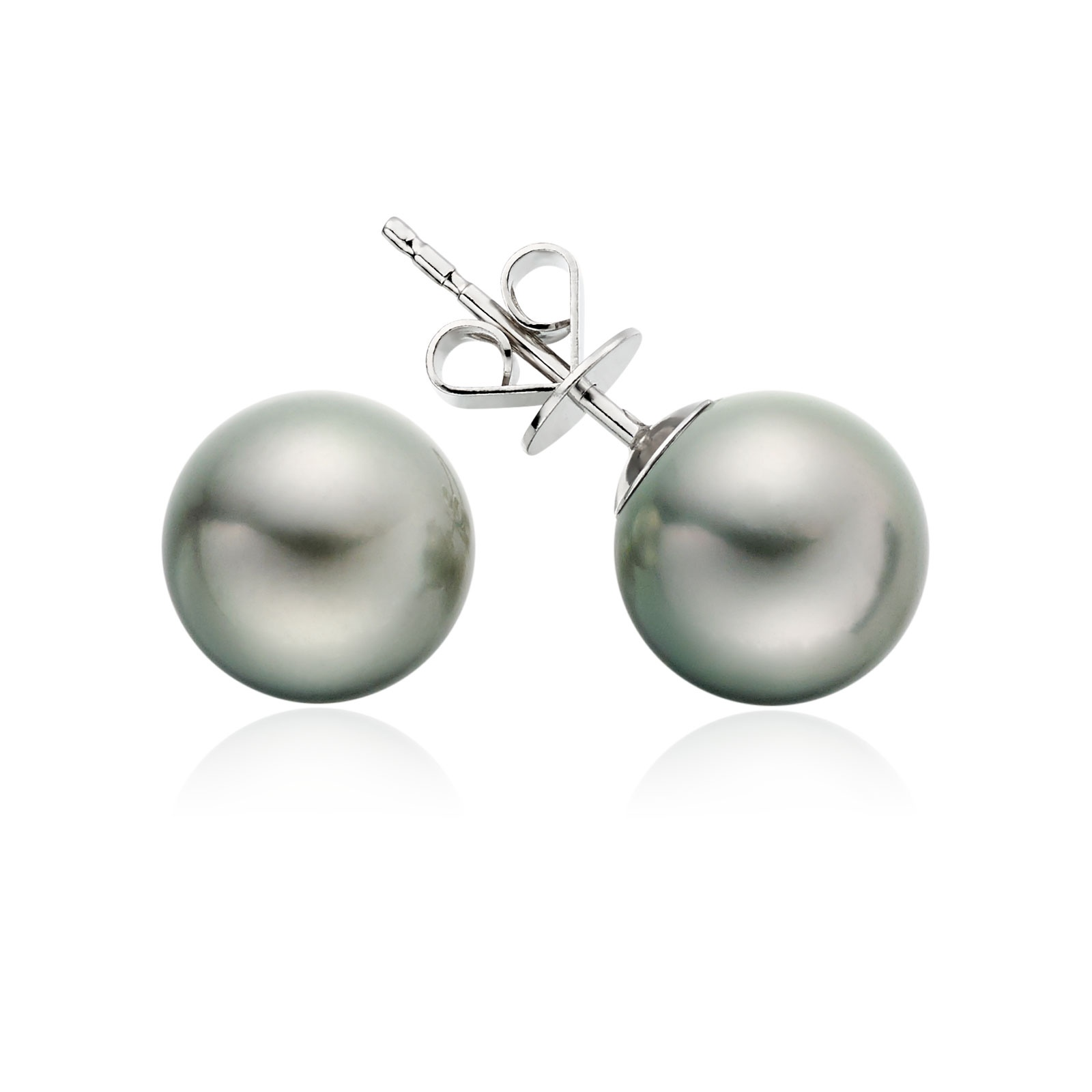 Tahitian Grey Pearl Stud Earrings with 18ct White Gold-1