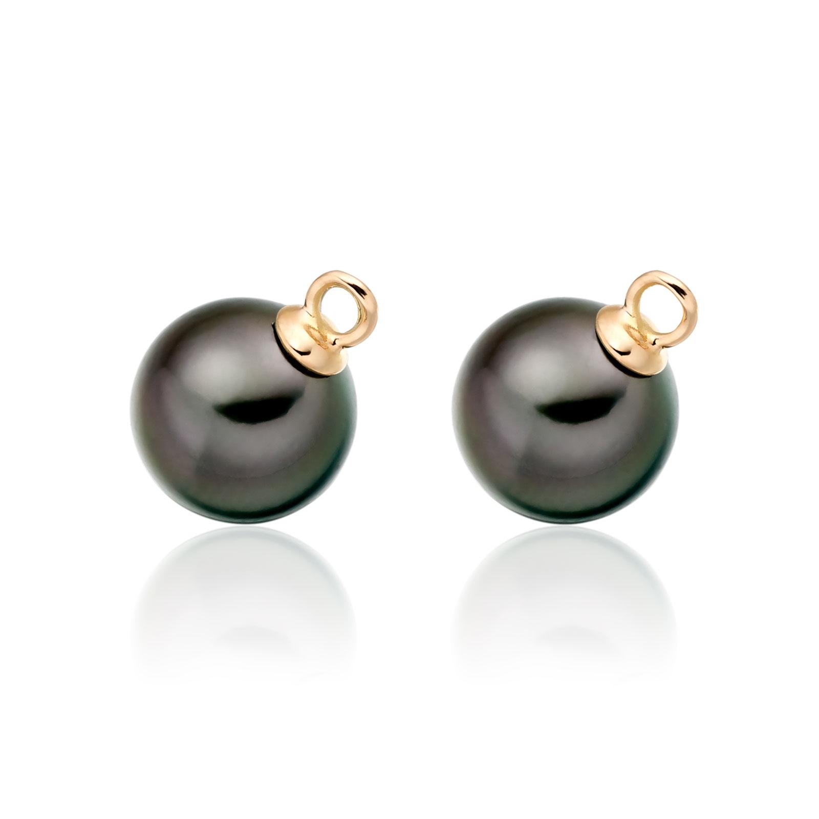 Pair of Black Tahitian Pearls for Rose Gold Leverback Earrings-1