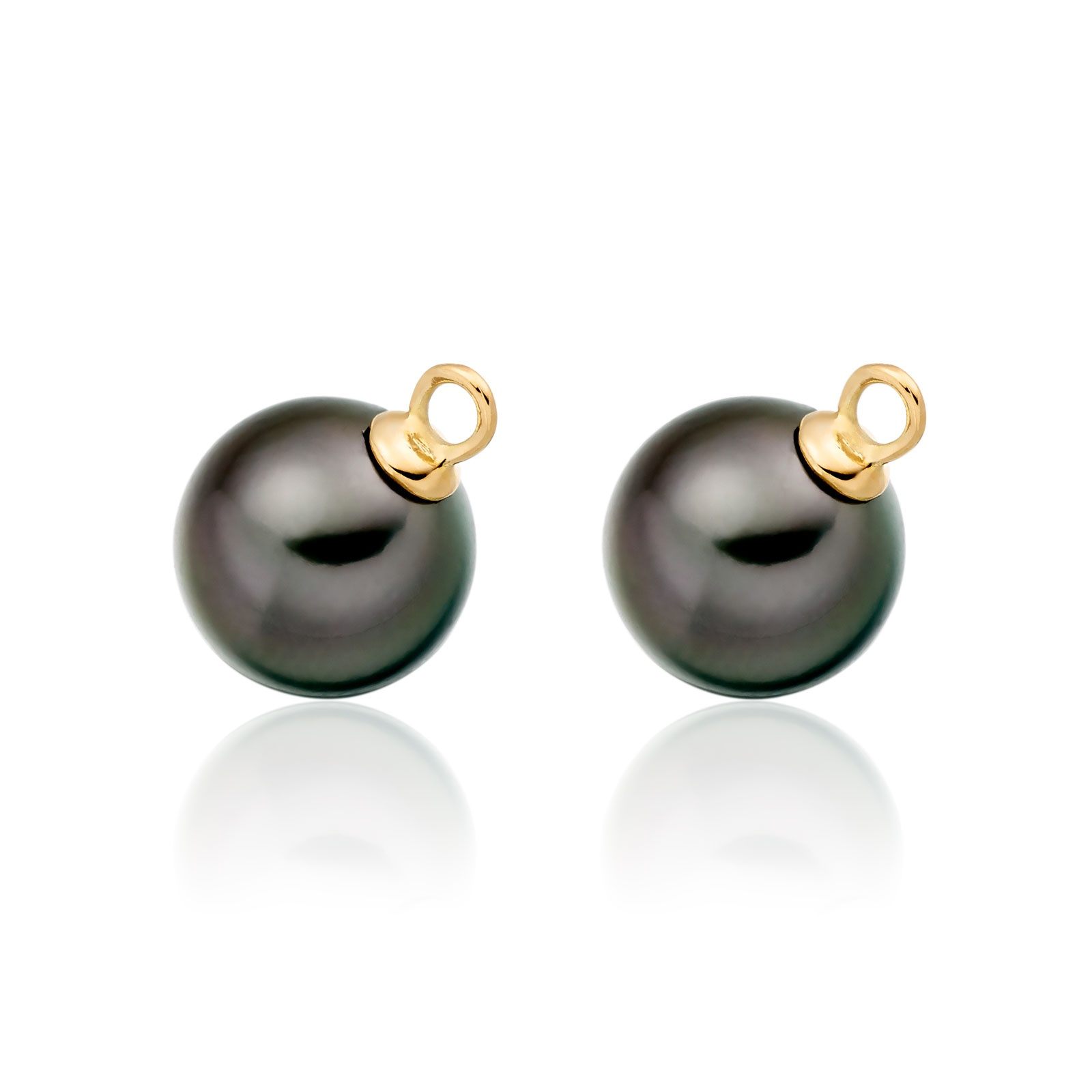 Pair of Black Tahitian Pearls for Yellow Gold Leverback Earrings-1