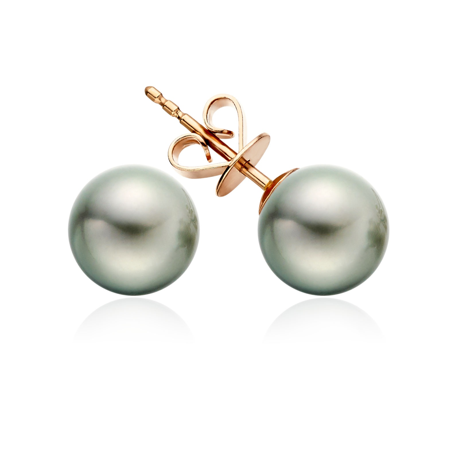 Green Grey Tahitian Grey Pearl Stud Earrings in Rose Gold-1