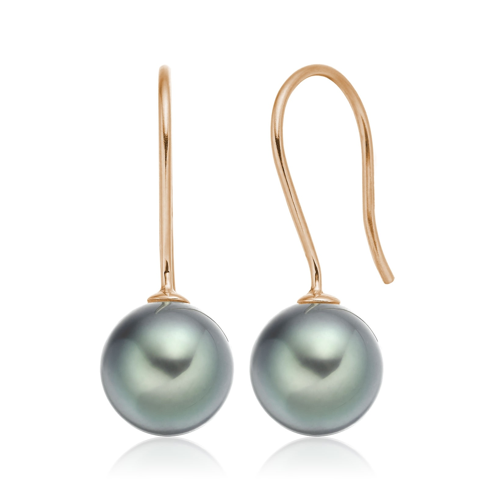 Tahitian Pearl Hook Earrings in Rose Gold-TEMRRG1320