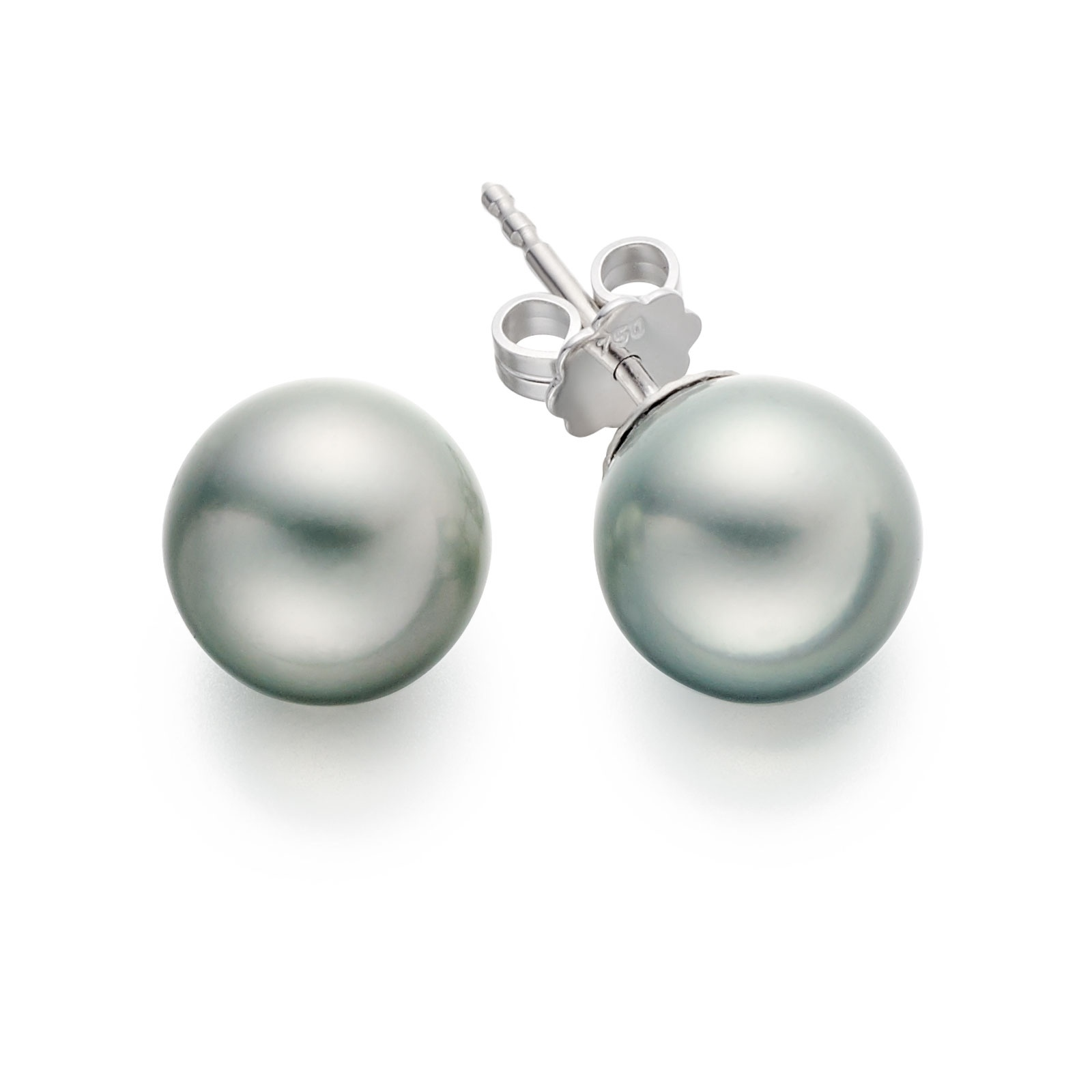 Tahitian Silver Pearl Stud Earrings with 18ct White Gold-TESRWG0046-1
