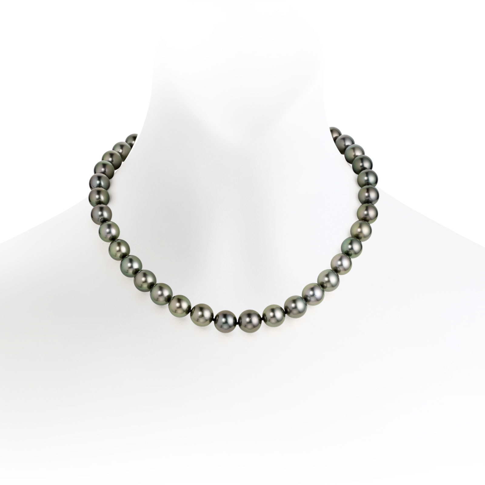 Grey Tahitian Pearl Choker Necklace with 18ct White Gold Ring Clasp-TNGRWG0088-1