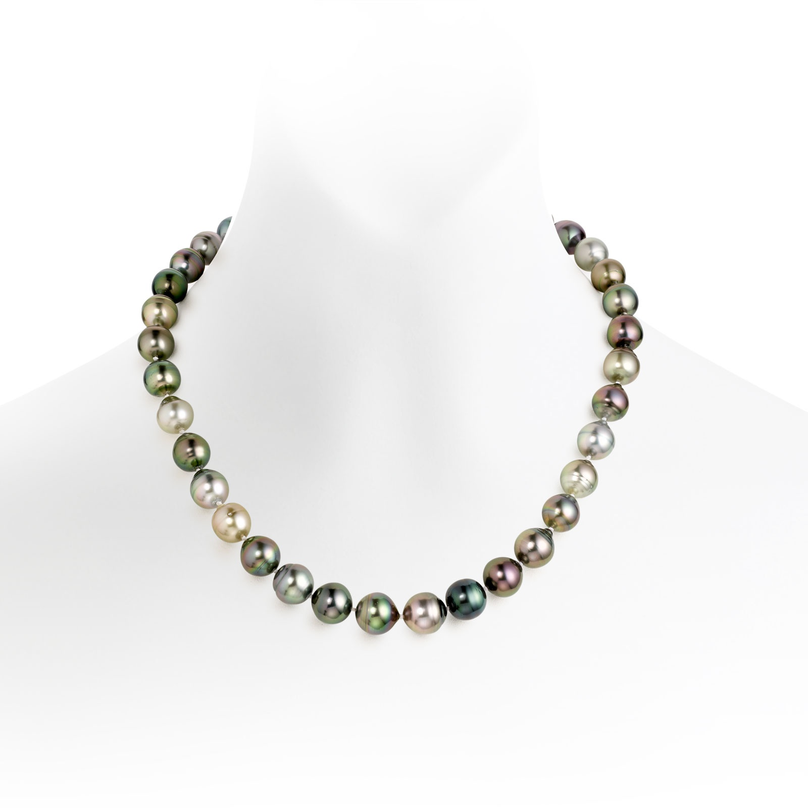 Multi-coloured Baroque Tahitian Pearl Necklace with 18ct White Gold-TNMBWG0017-1