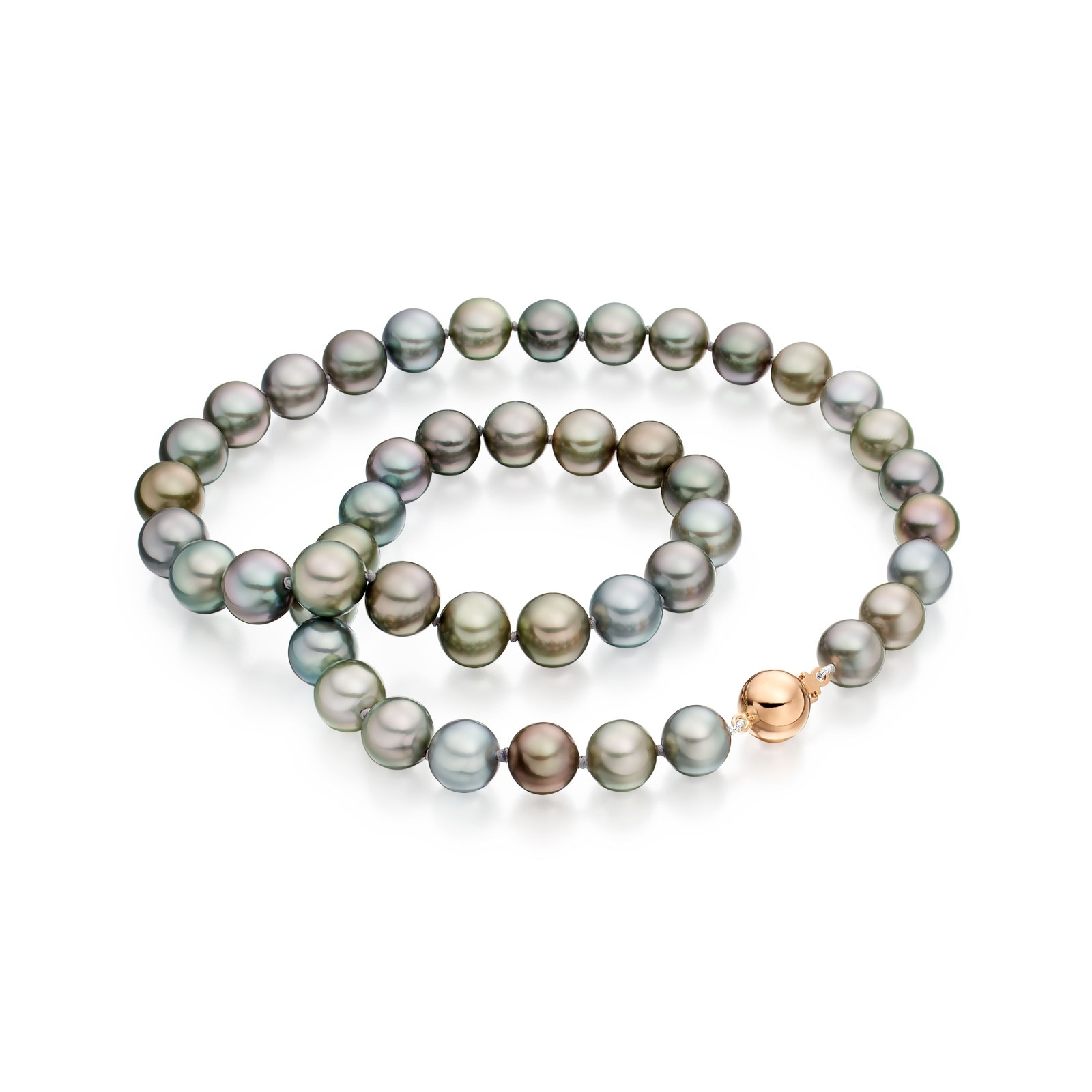 Pastel Grey Tahitian Pearl Necklace with Rose Gold-TNMRRG1022-1