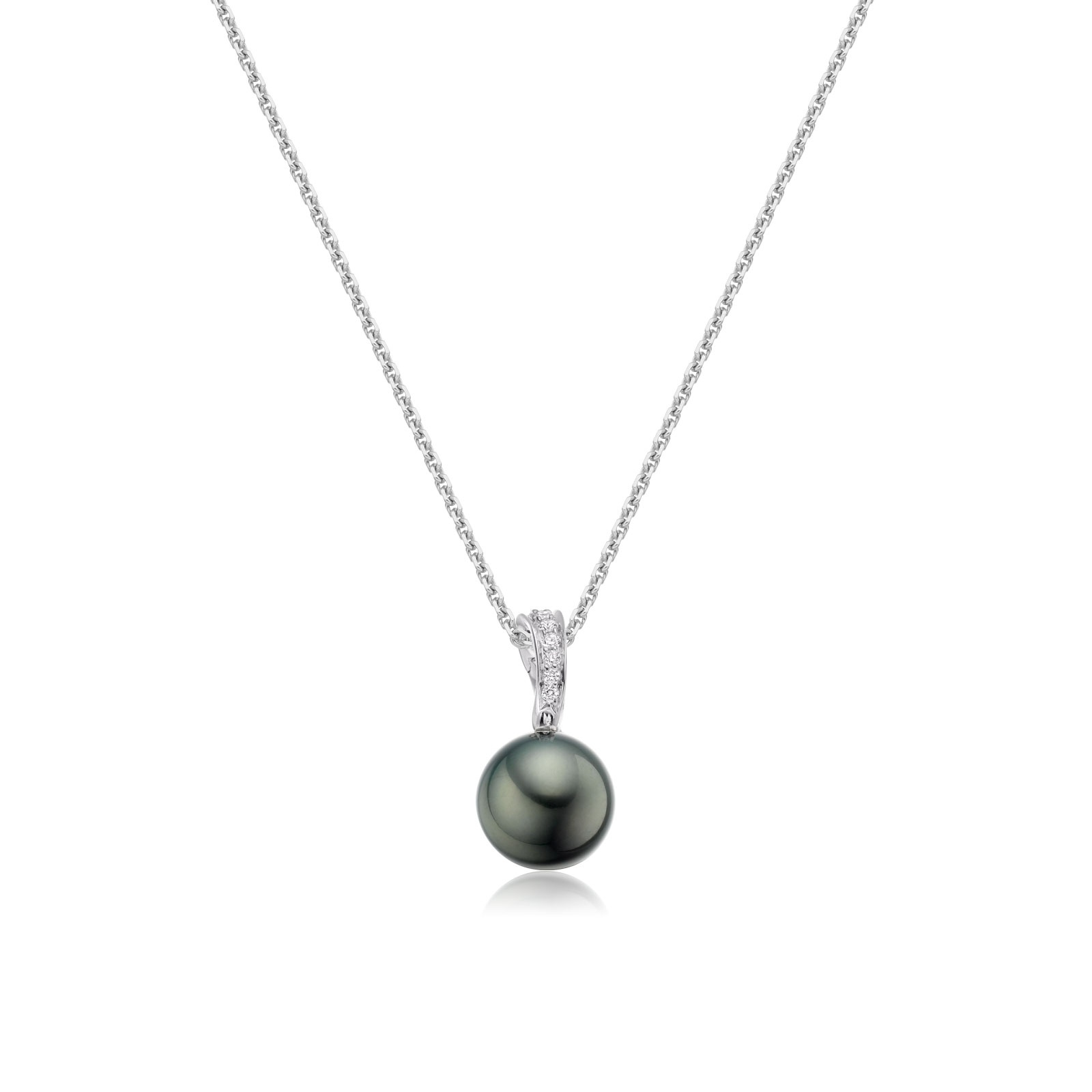 Tahitian Black Pearl and Pave Diamond Pendant with 18ct Gold Chain-TPBRWG0091-1