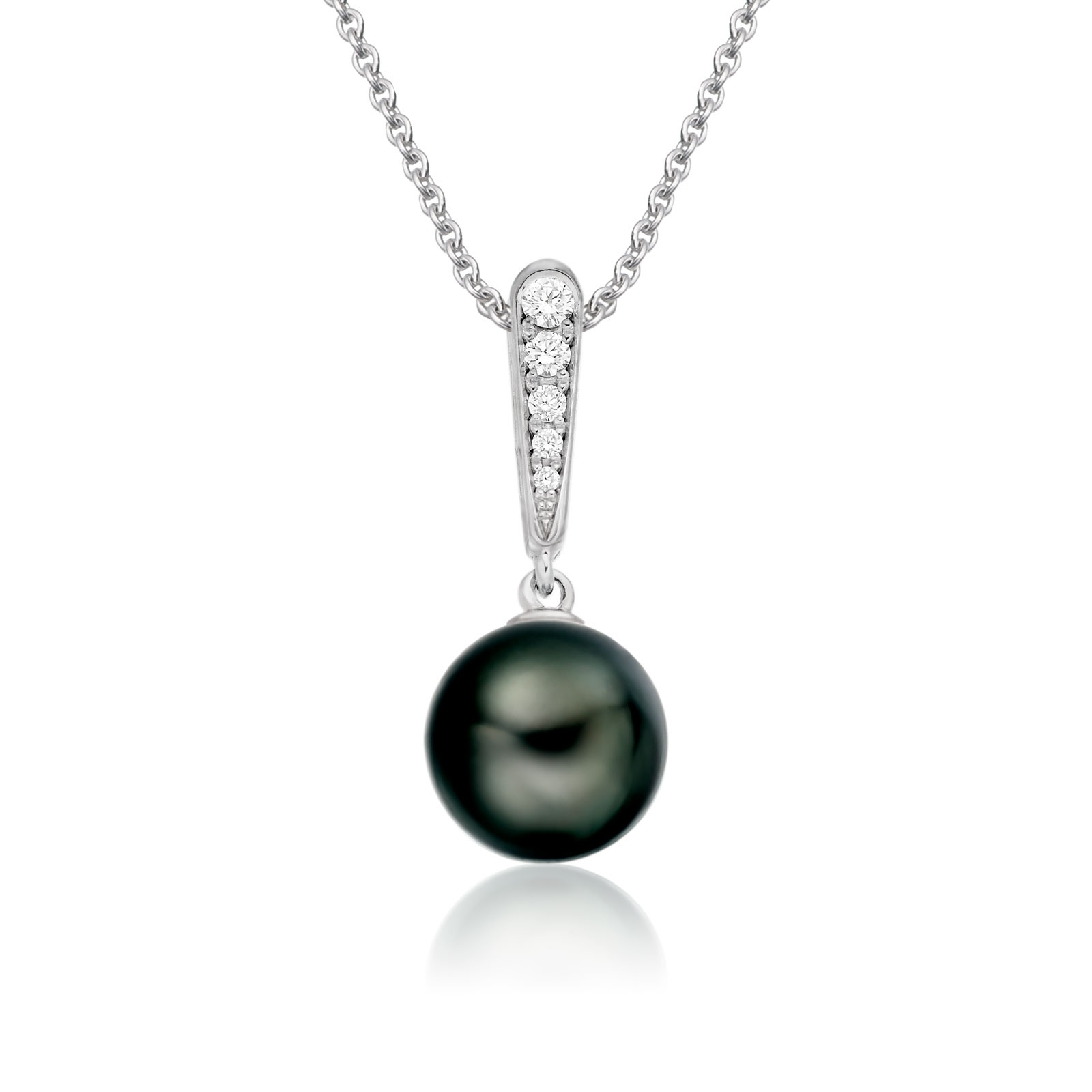 Mythologie Dark Dewdrop Tahitian Pearl Pendant in White Gold-TPVARWG1285-1