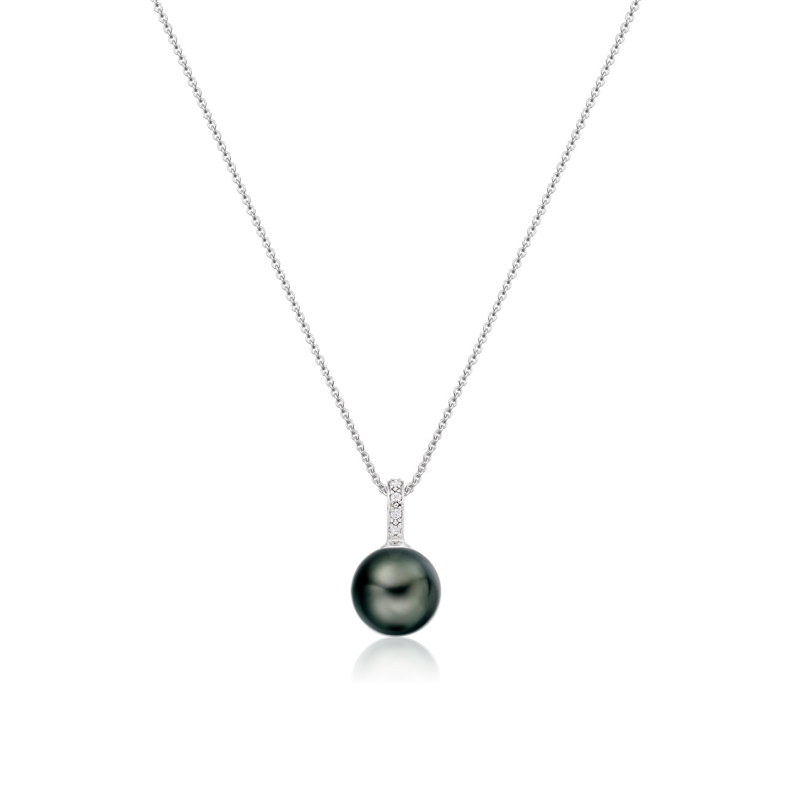 Mythologie Tahitian Pearl and Diamond Pendant in White Gold-TPVARWG1291-1