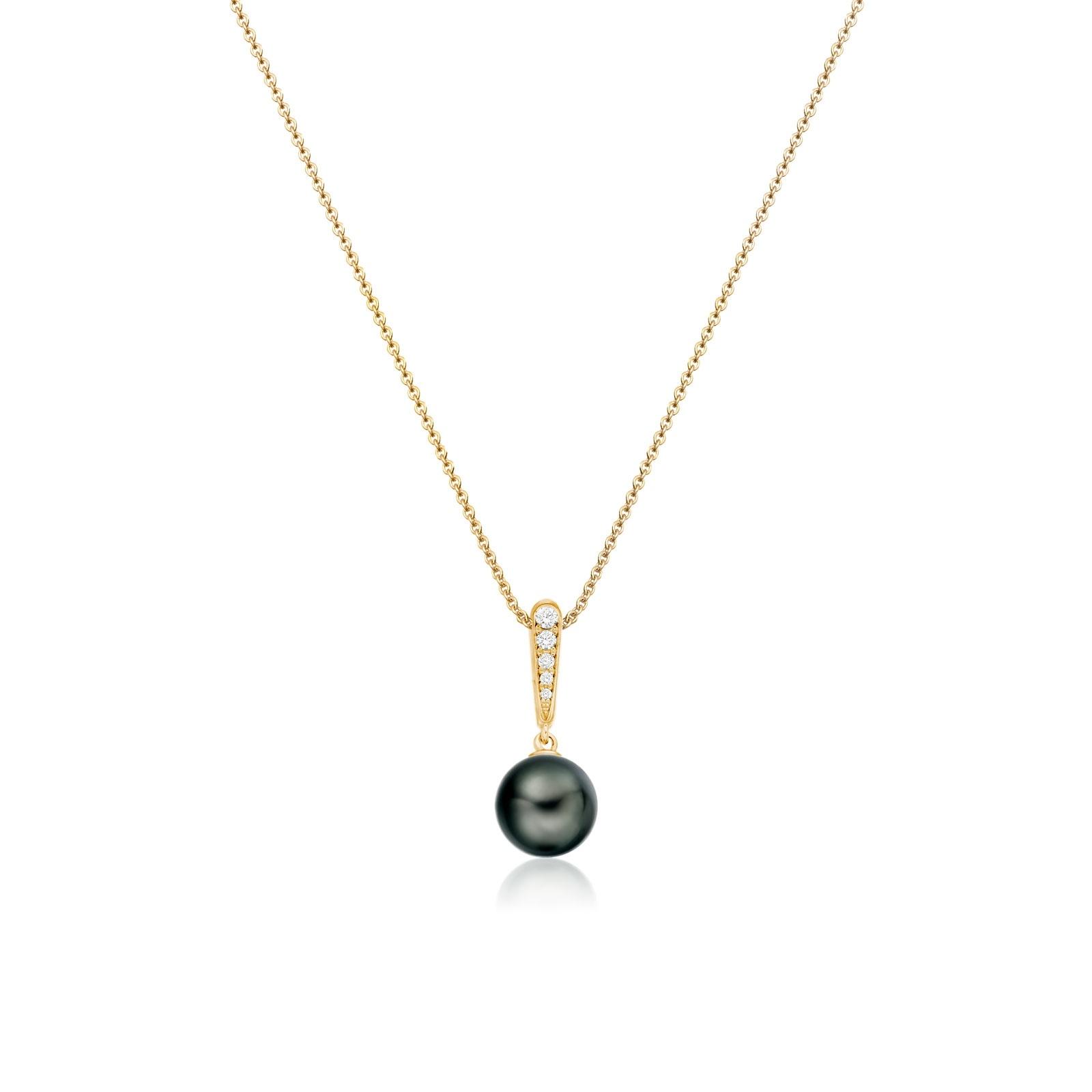 Mythologie Dark Dewdrop Tahitian Pearl Pendant in Yellow Gold-TPVARYG1286-1