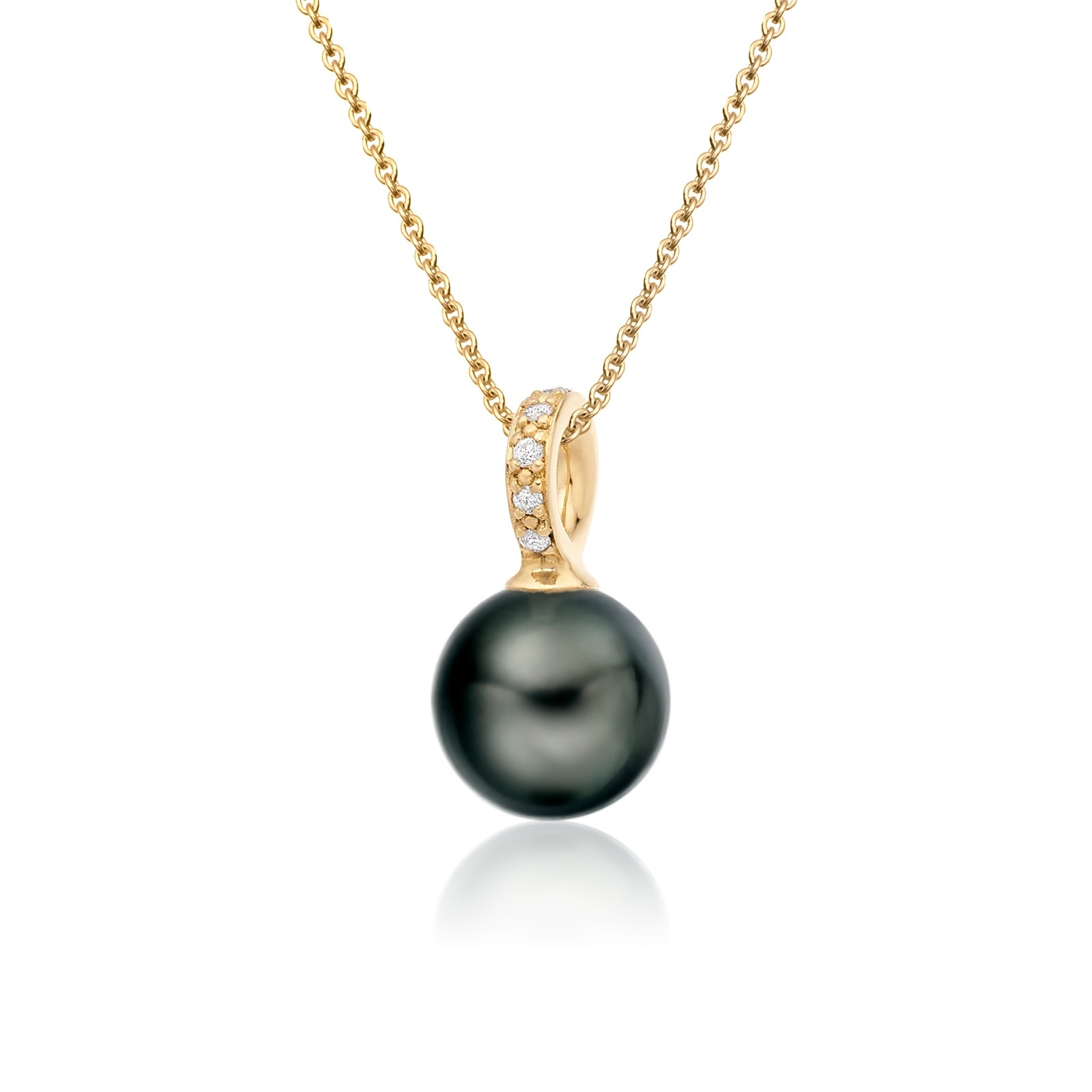 Mythologie Tahitian Pearl and Diamond Pendant in Yellow Gold-TPVARYG1292-1