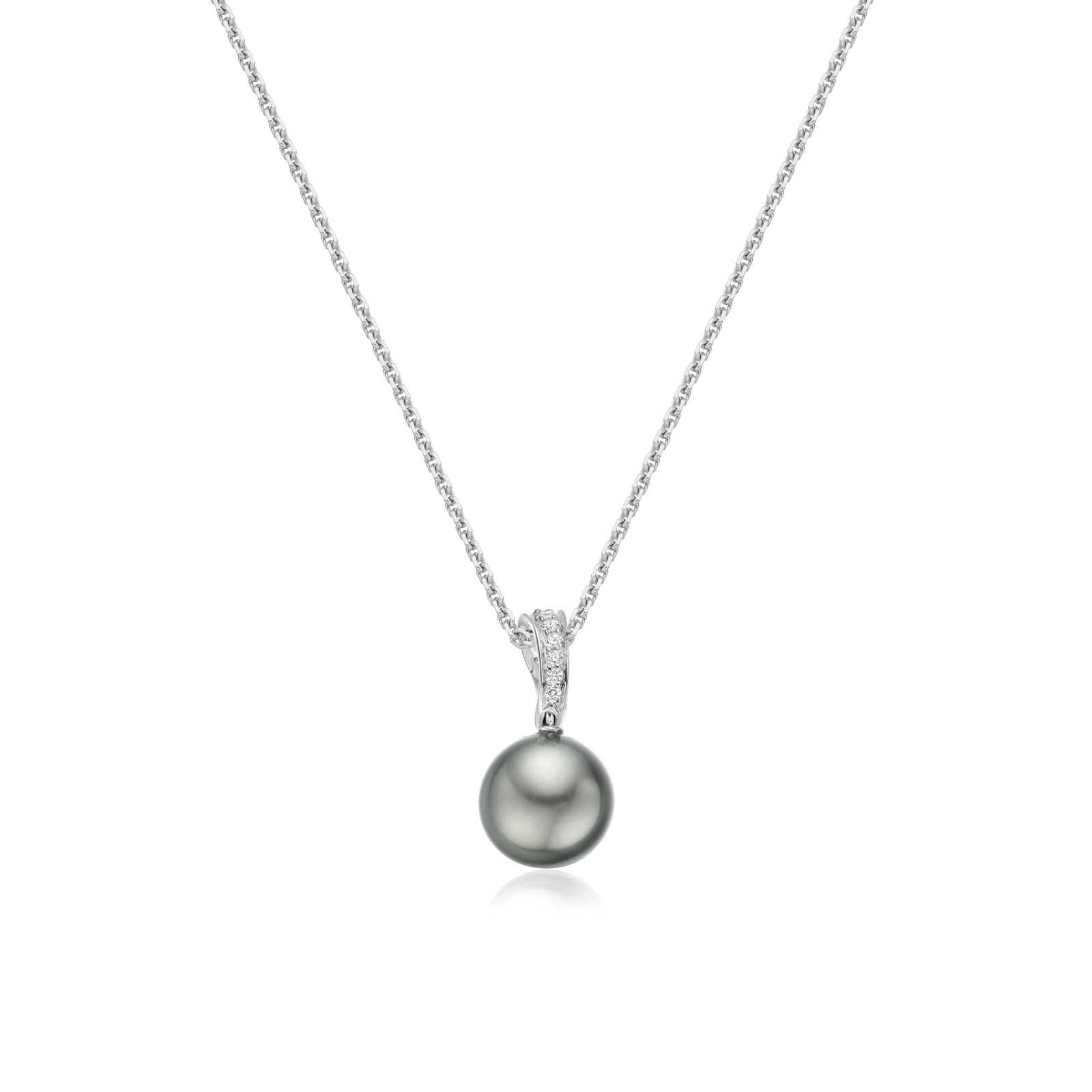Tahitian Grey Pearl and Pave Diamond Pendant with 18ct Gold Chain-TPGRWG0090-1
