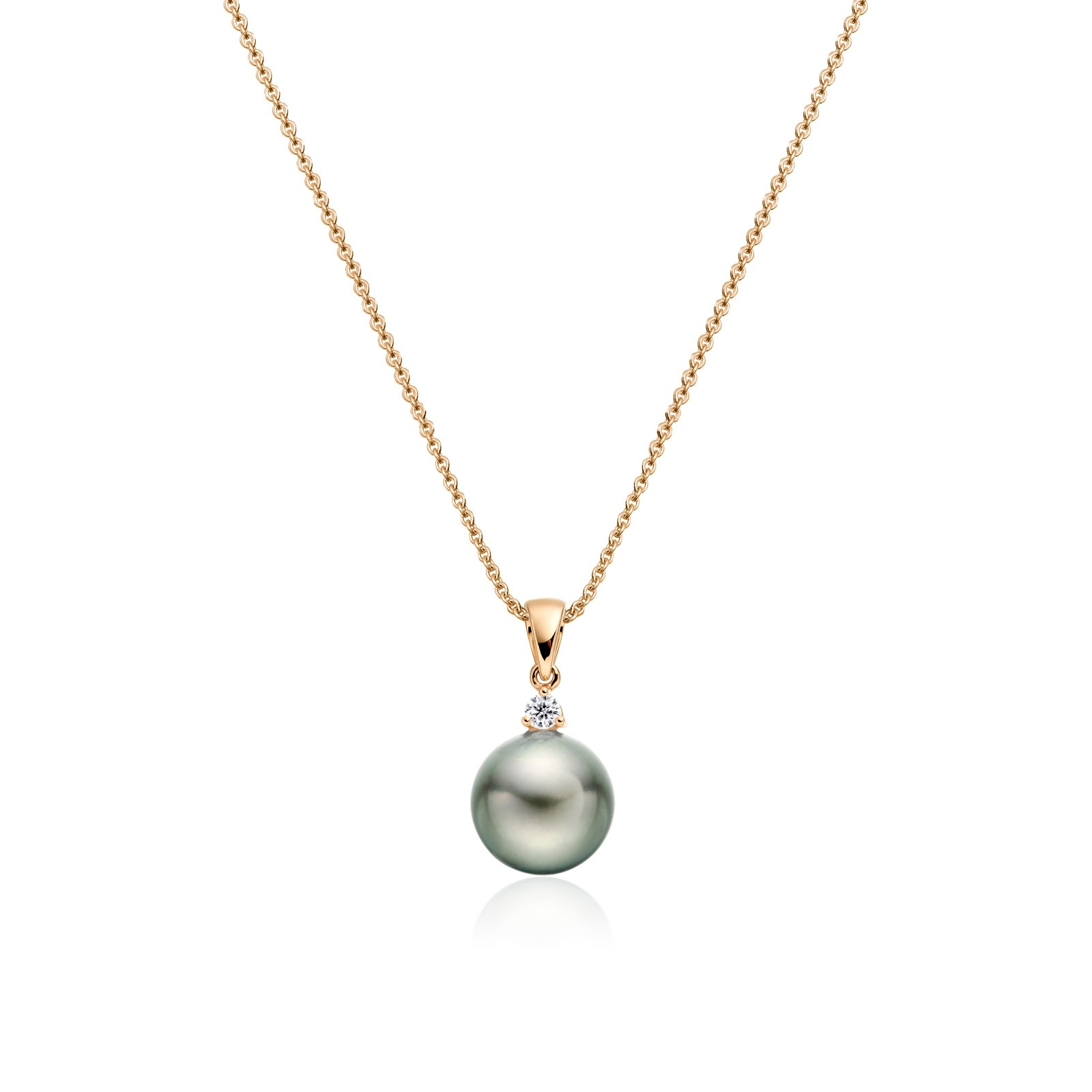 Green Grey Tahitian Pearl and Diamond Pendant in Rose Gold-TPVARRG1205-1