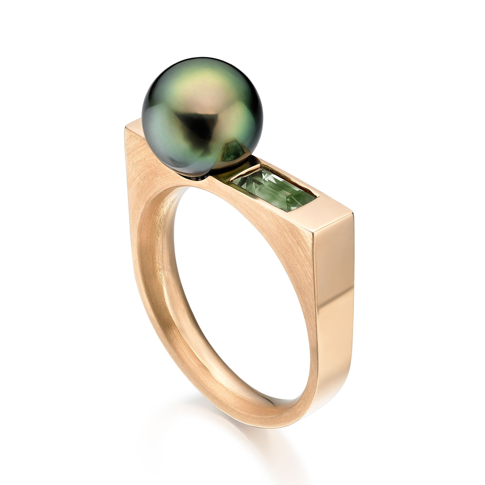 Luna Moss Tahitian Pearl and Sapphire Ring