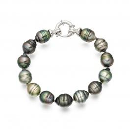 Multi-coloured Baroque Tahitian Pearl Bracelet in White ...