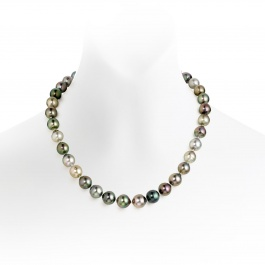 Multi-coloured Baroque Tahitian Pearl Necklace in White ...