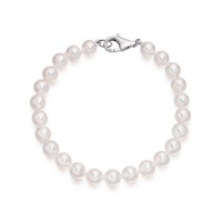 Single White Japanese Akoya Pearl Bracelet with 18ct Gold