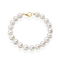 Luxury White Japanese Akoya Pearl Bracelet with 18ct Gold