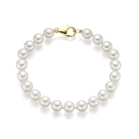 Classic White Japanese Akoya Pearl Bracelet with 18ct Gold
