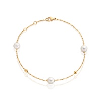 Akoya Pearl Constellation Bracelet in Yellow Gold